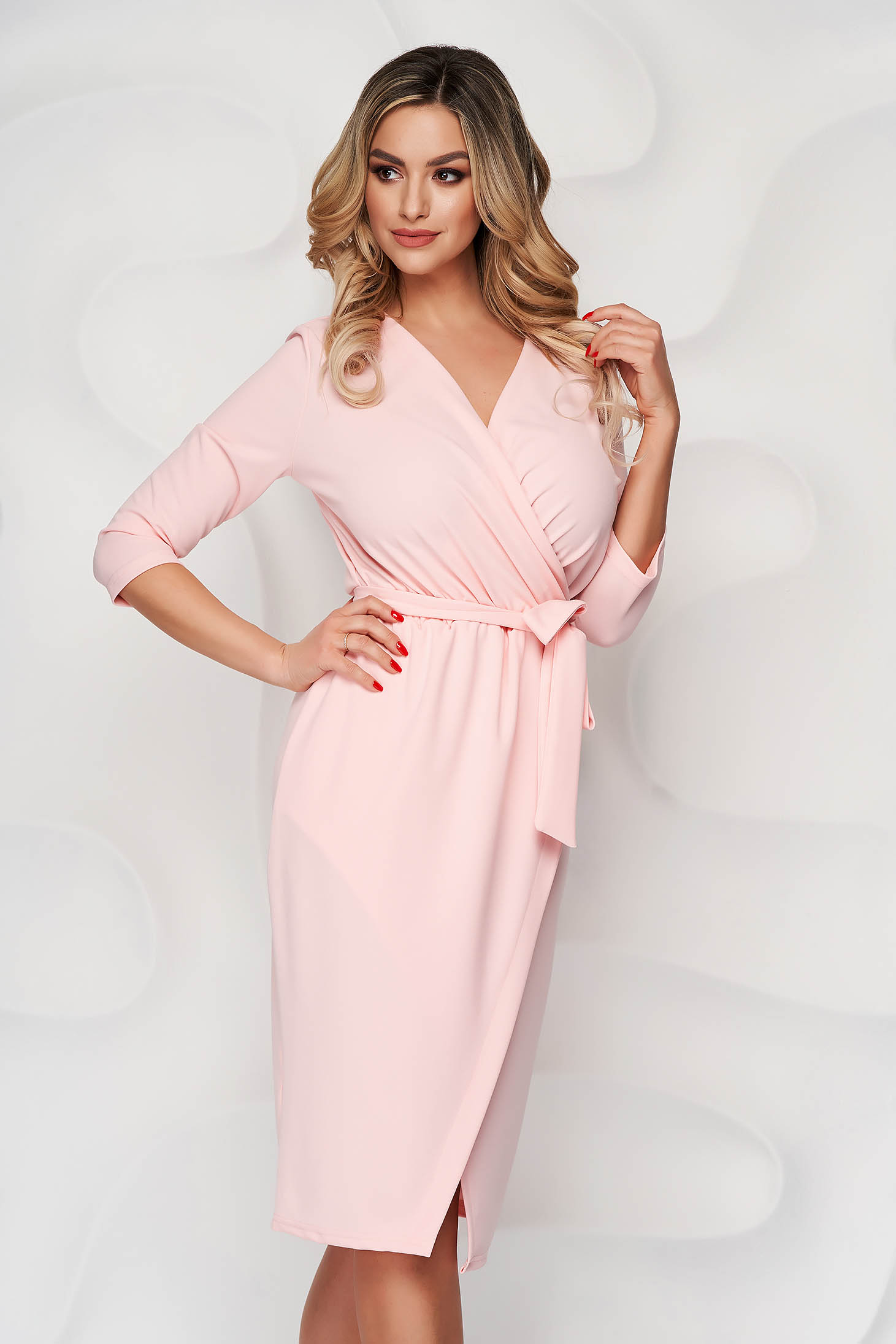 Lightpink dress pencil office from elastic fabric wrap over front