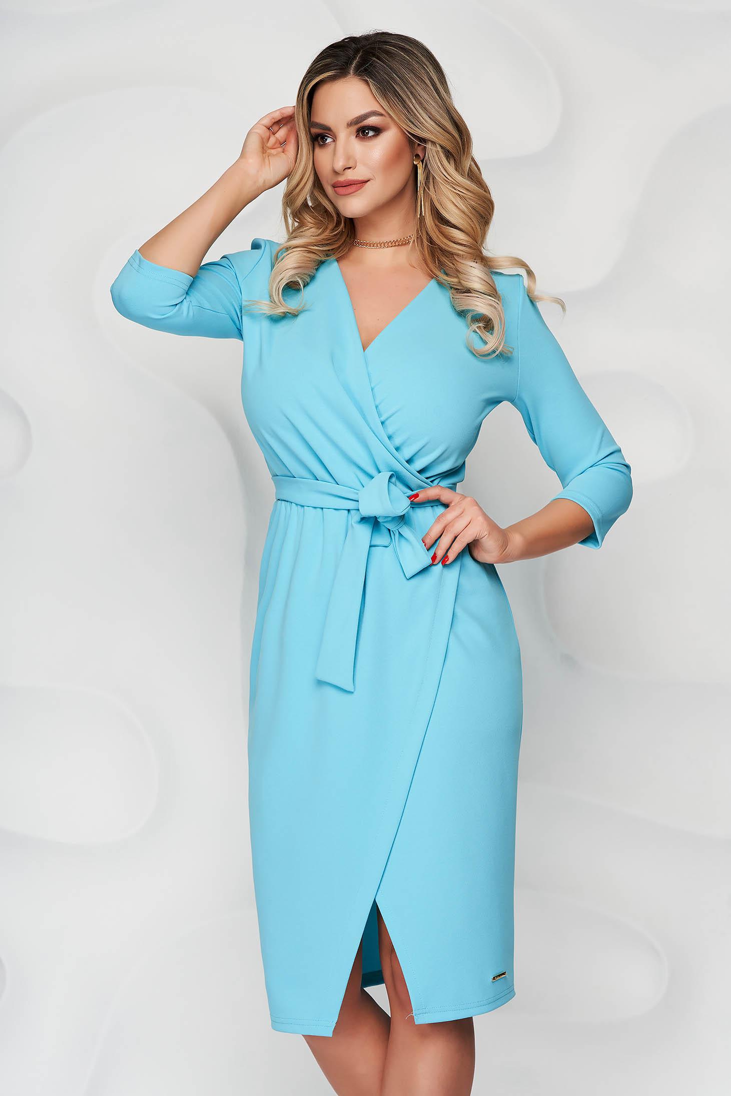 Rochie albastra office tip creion din material elastic cu decolteu petrecut