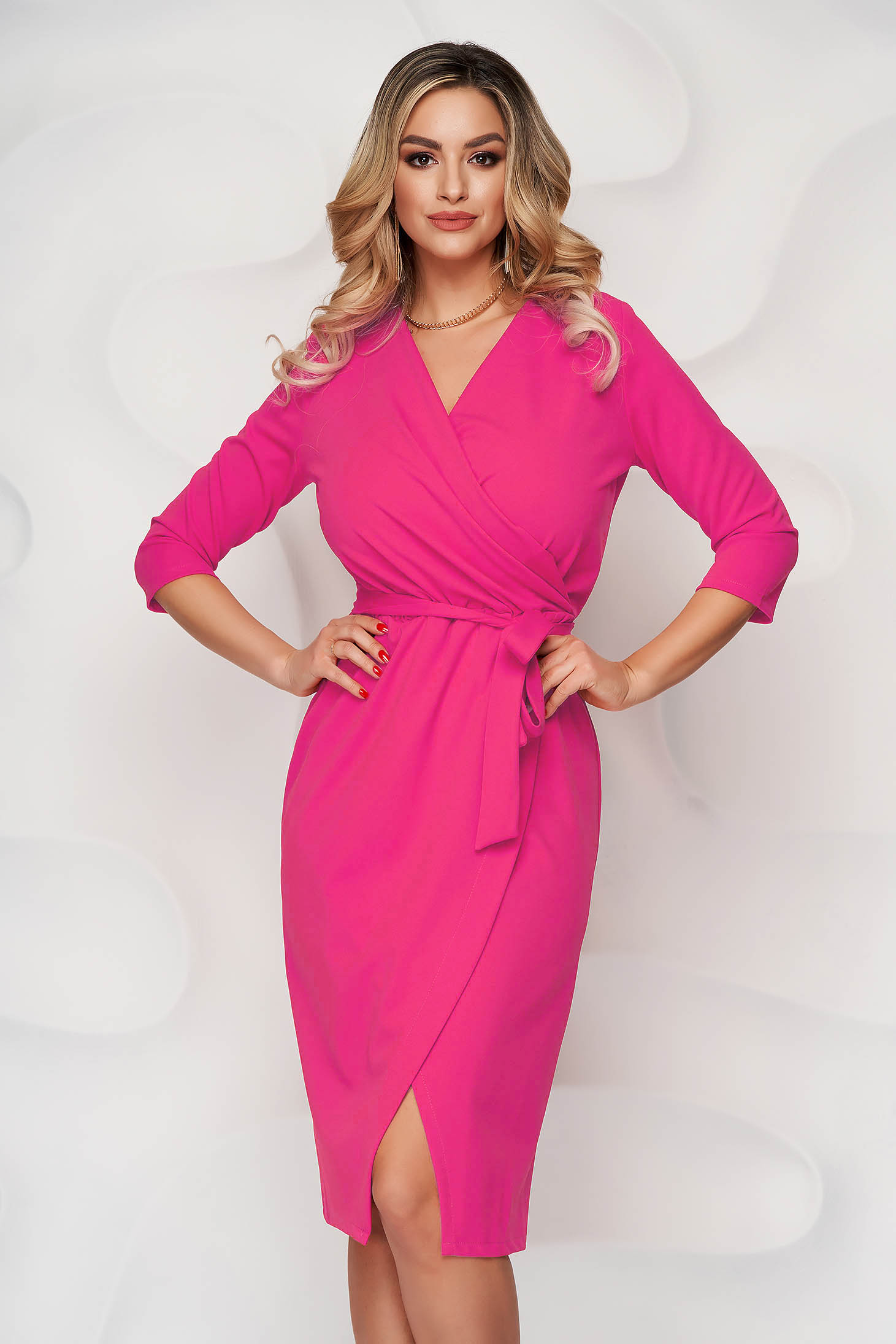 Pink dress pencil office from elastic fabric wrap over front