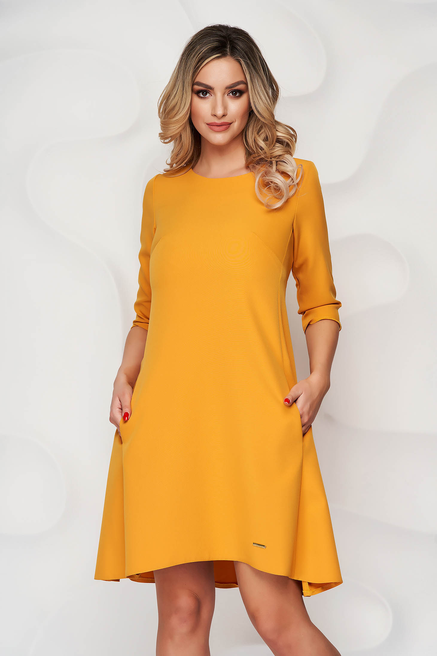 Dress mustard office a-line cloth slightly elastic fabric with rounded cleavage