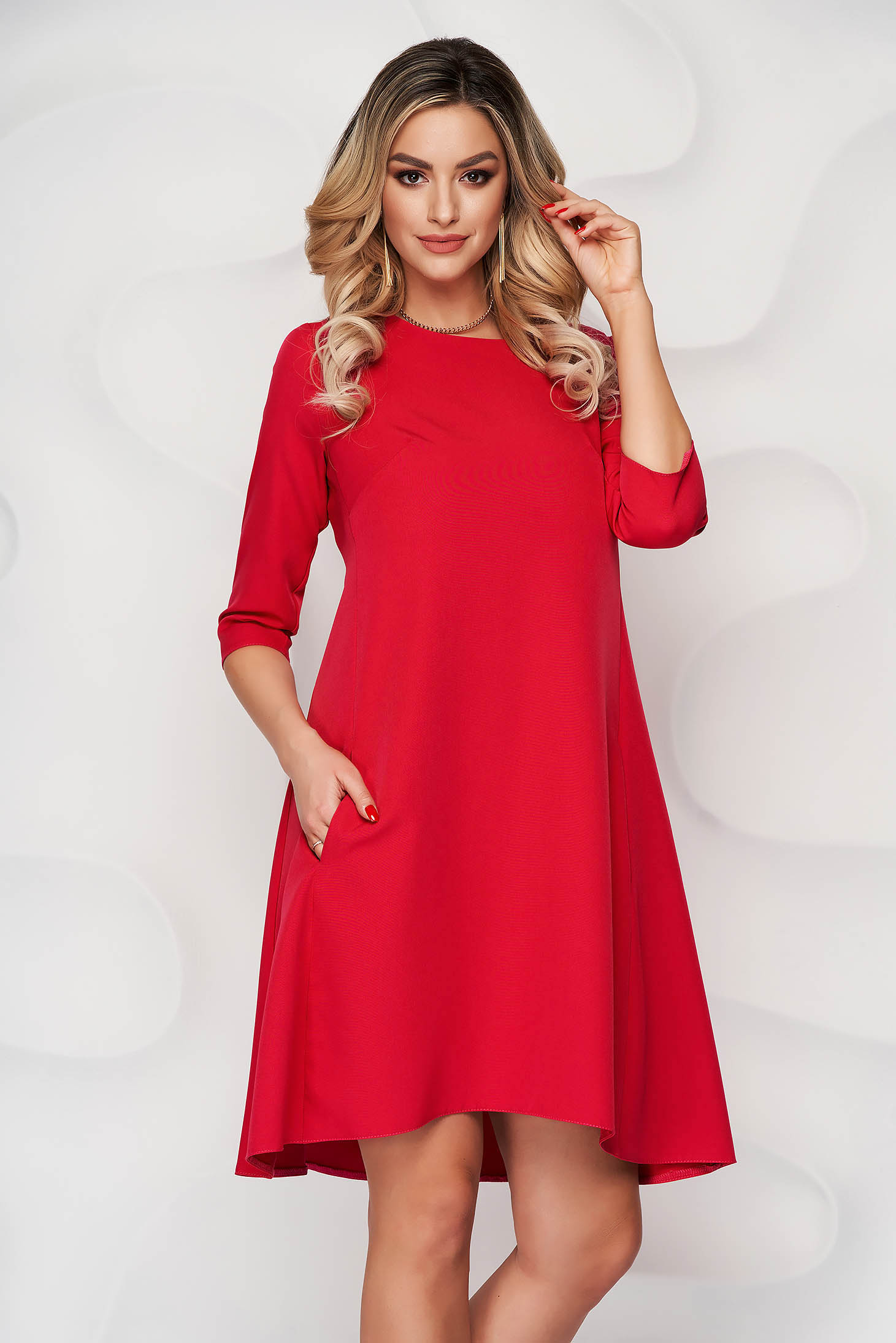 Dress red office a-line cloth slightly elastic fabric with rounded cleavage