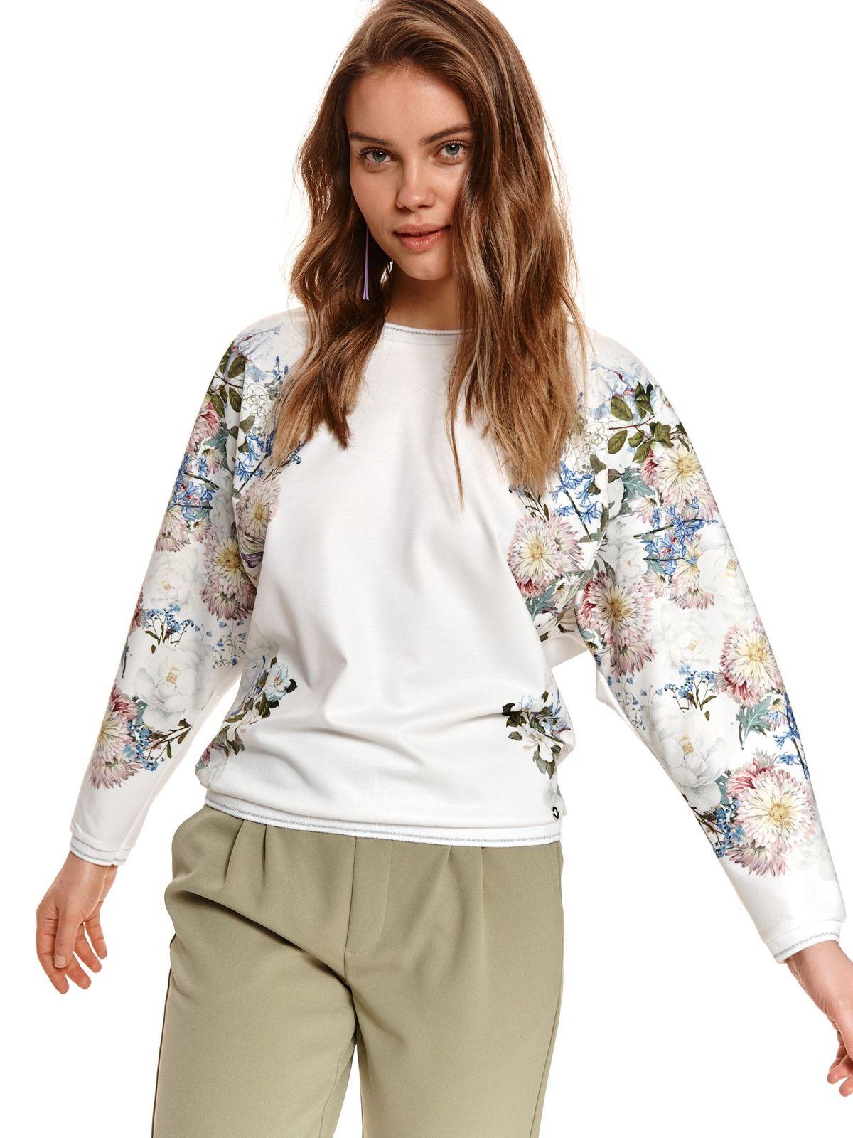 Bluza dama alba Top Secret cu imprimeu floral cu croi larg