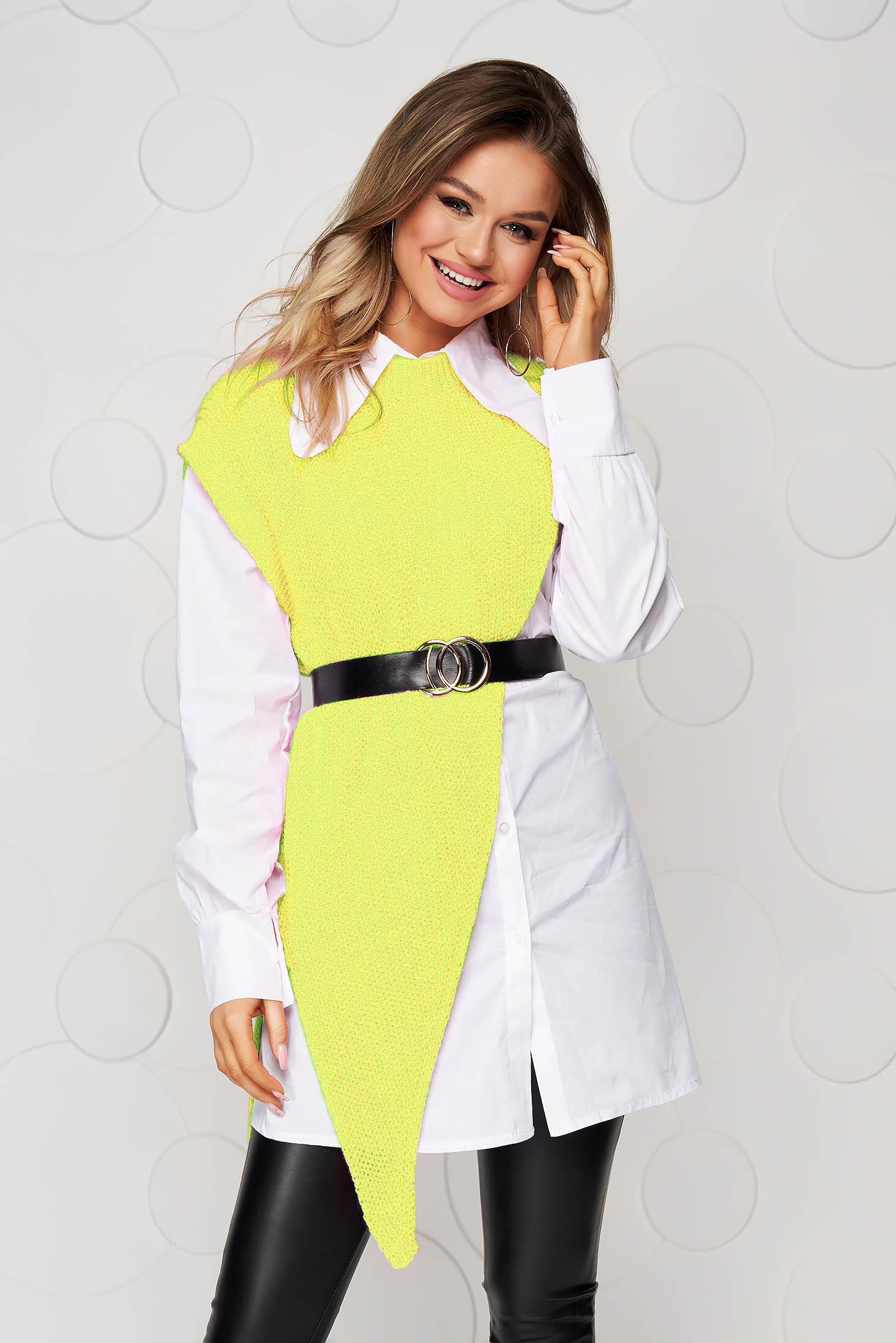 Yellow women`s shirt fabric overlay accessorized with belt loose fit