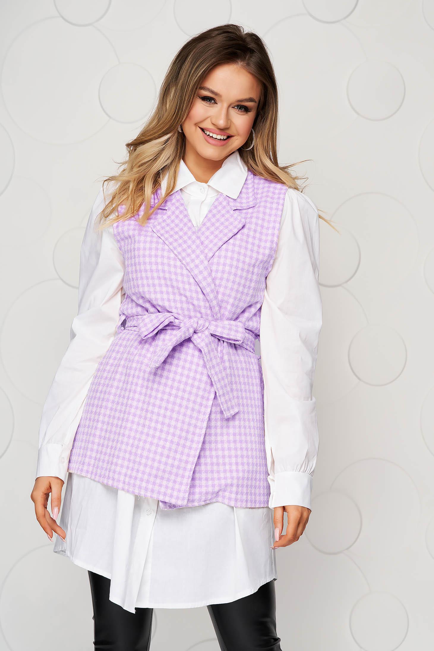 Bő szabású lila kockás casual női ing övvel ellátva