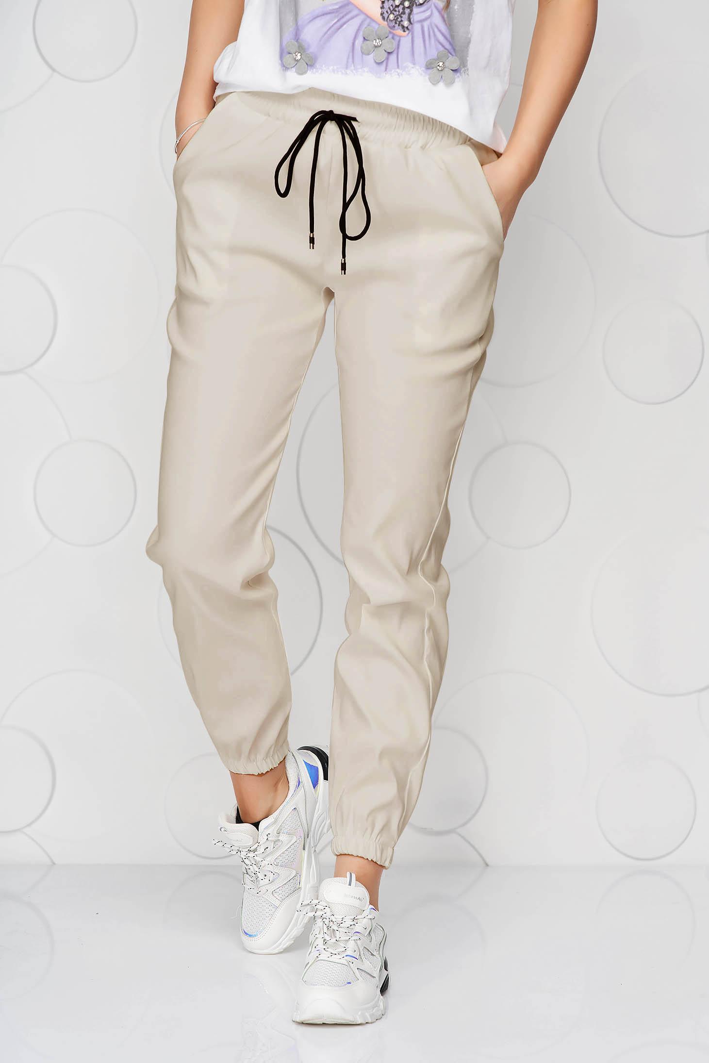 Krémszínű casual középmagas derekú nadrág zsebekkel vékony anyag