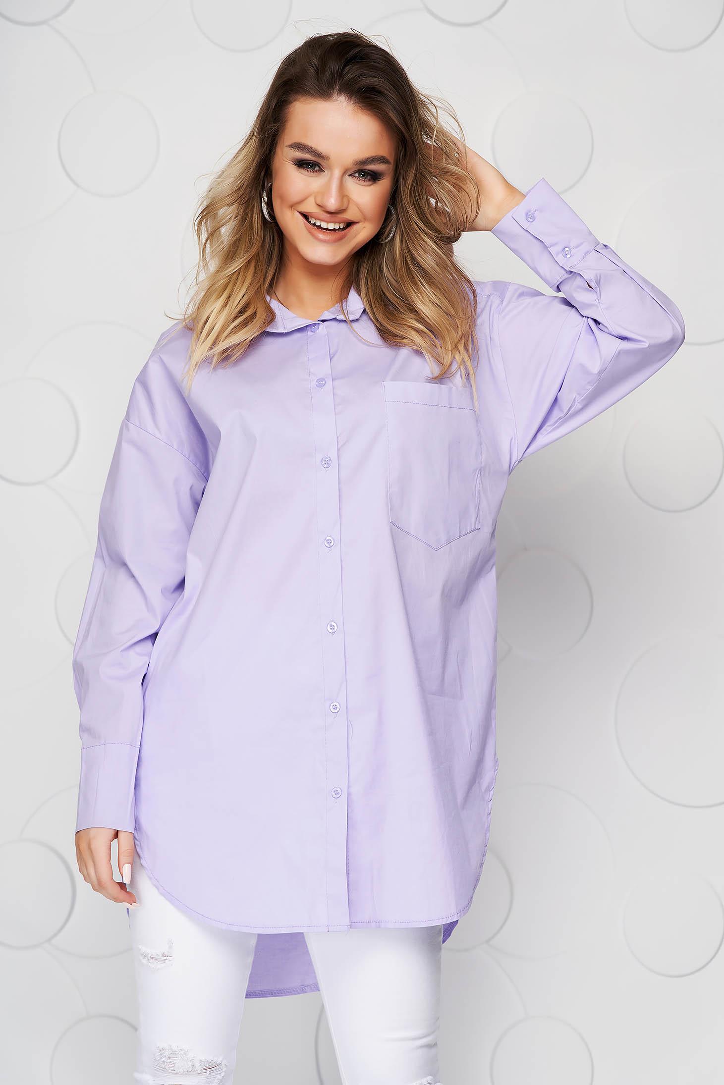 Lila women`s shirt loose fit asymmetrical poplin, thin cotton