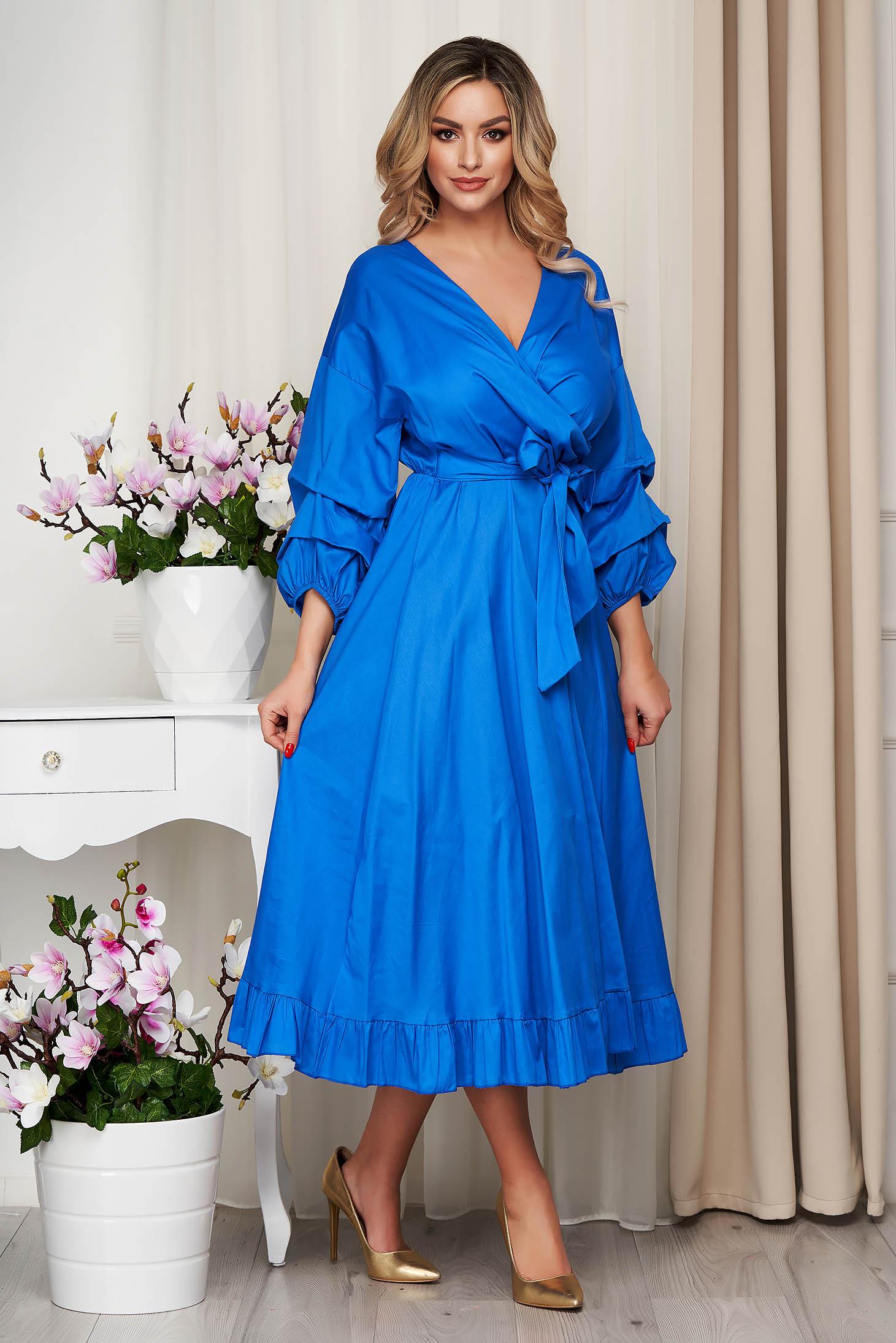 Rochie SunShine albastra din bumbac subtire accesorizata cu cordon clos cu elastic in talie