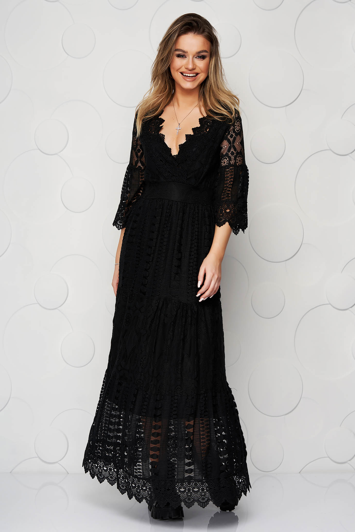 Black dress cloche with elastic waist lace overlay with v-neckline