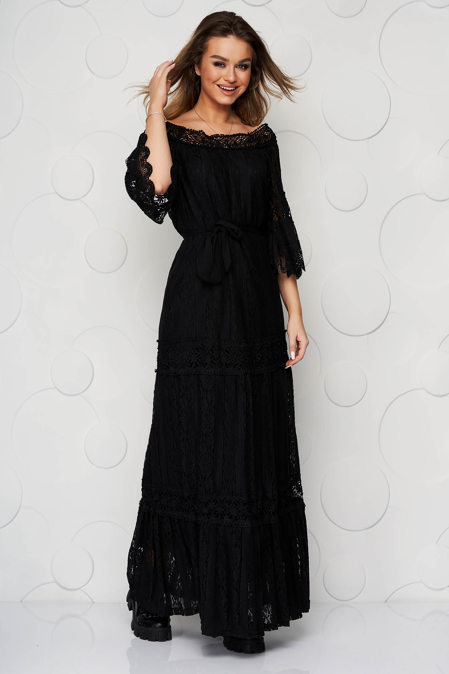 Black dress lace overlay loose fit long
