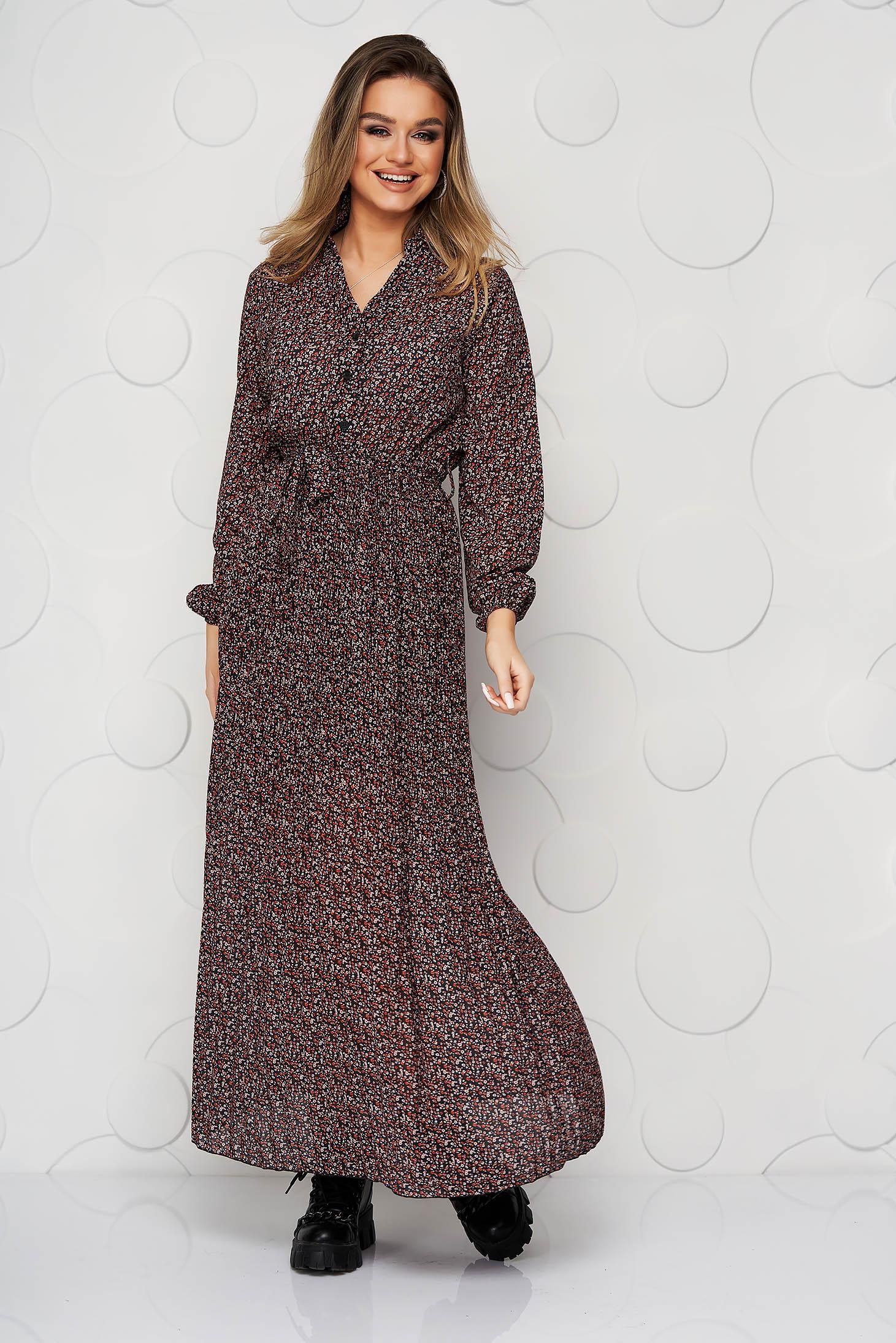 Rochie SunShine maro in clos cu elastic in talie plisata din material vaporos si transparent