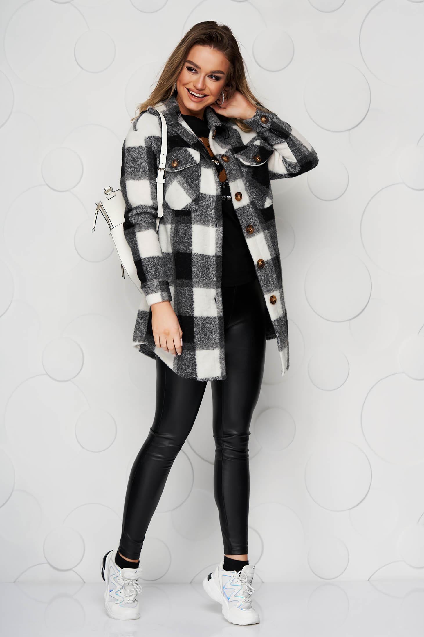 Jacheta tip camasa SunShine neagra din lana cu croi larg cu buzunare in fata