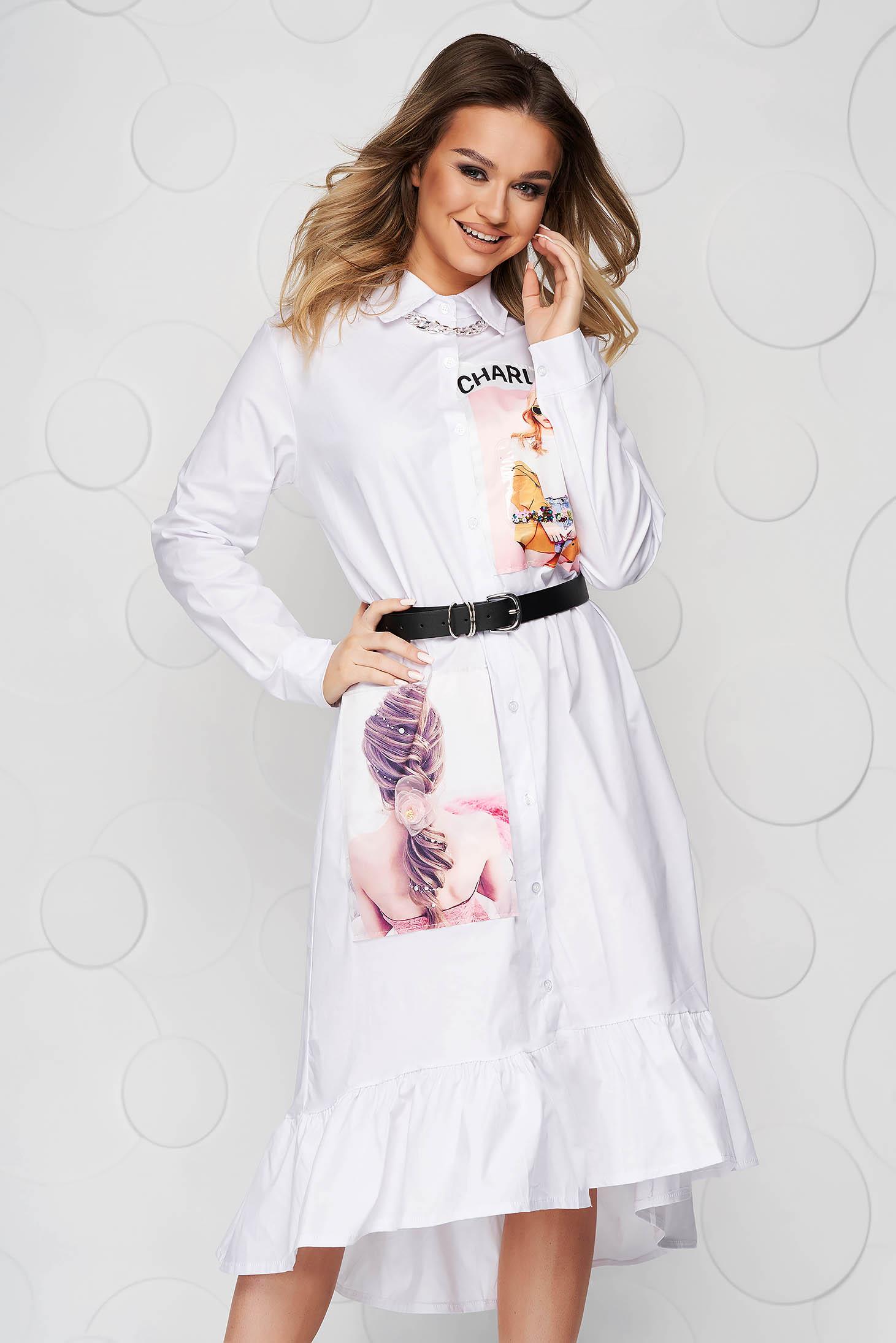 Fehér ruha bő szabású midi 3d effekt vékony szövetből