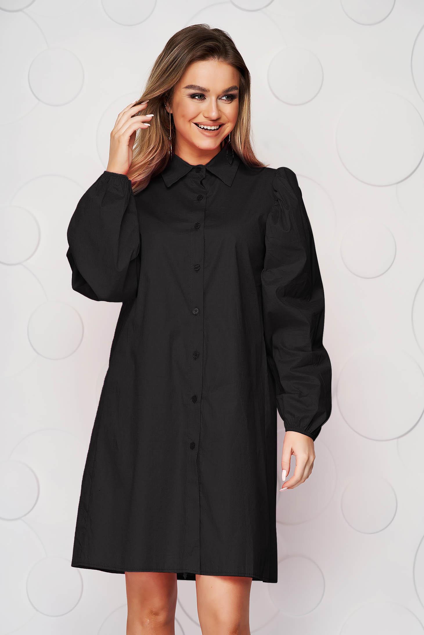 Black dress loose fit elastic held sleeves thin fabric