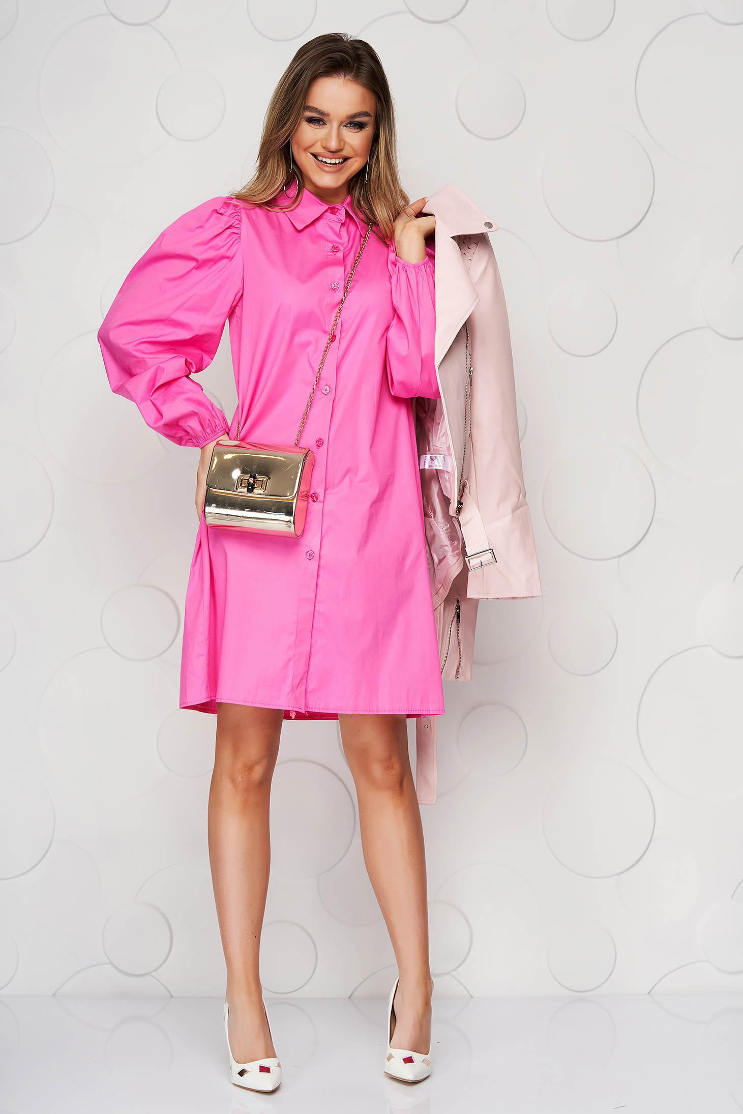 Rochie SunShine roz cu croi larg din material subtire cu maneci prinse in elastic