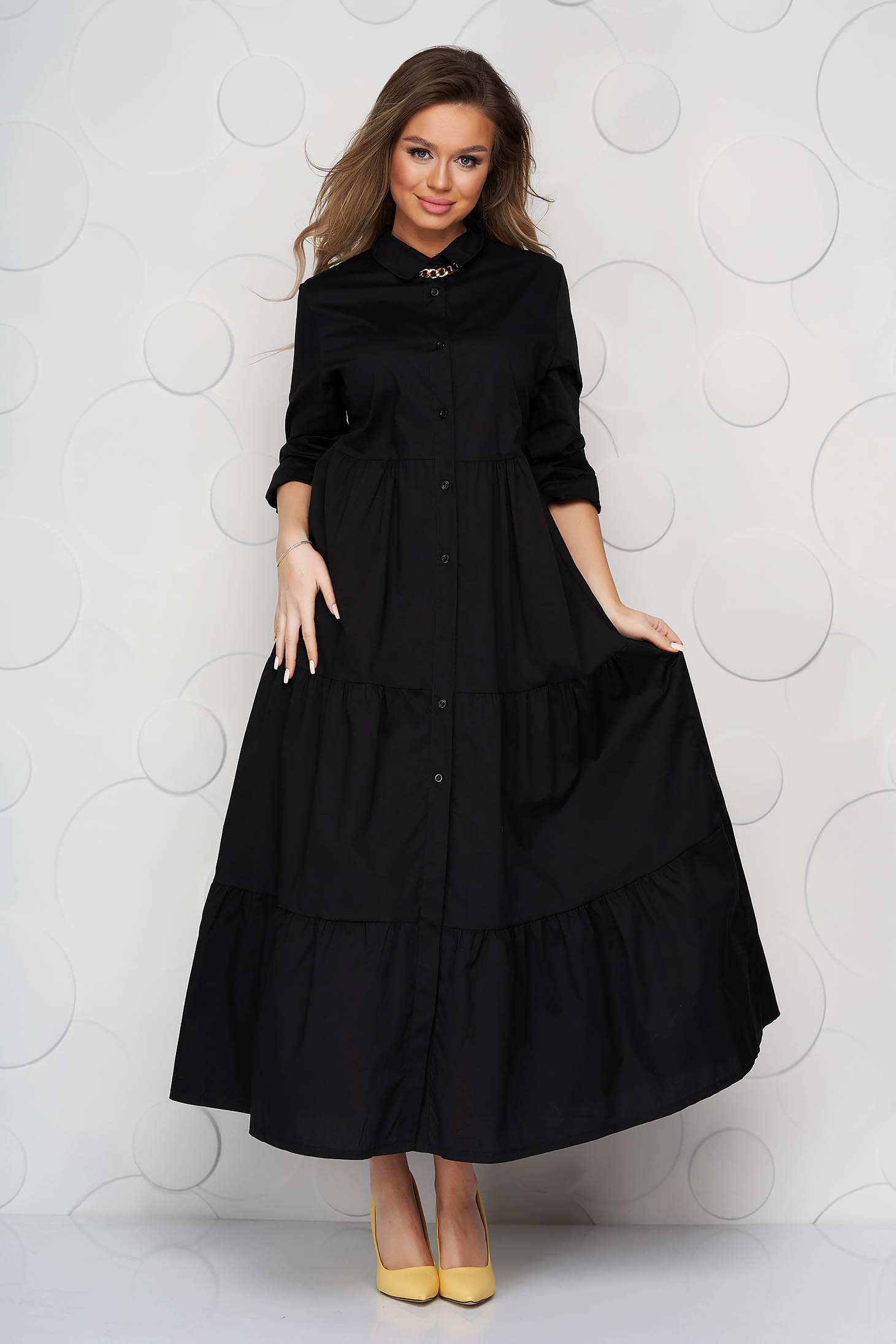 Black dress thin fabric with ruffle details a-line long