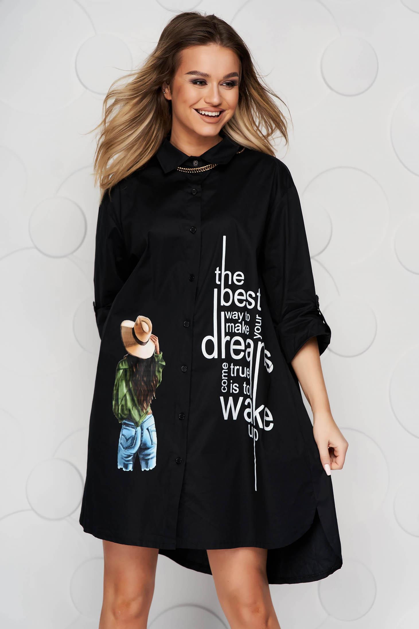 Camasa dama SunShine neagra lunga asimetrica din material subtire tip poplin