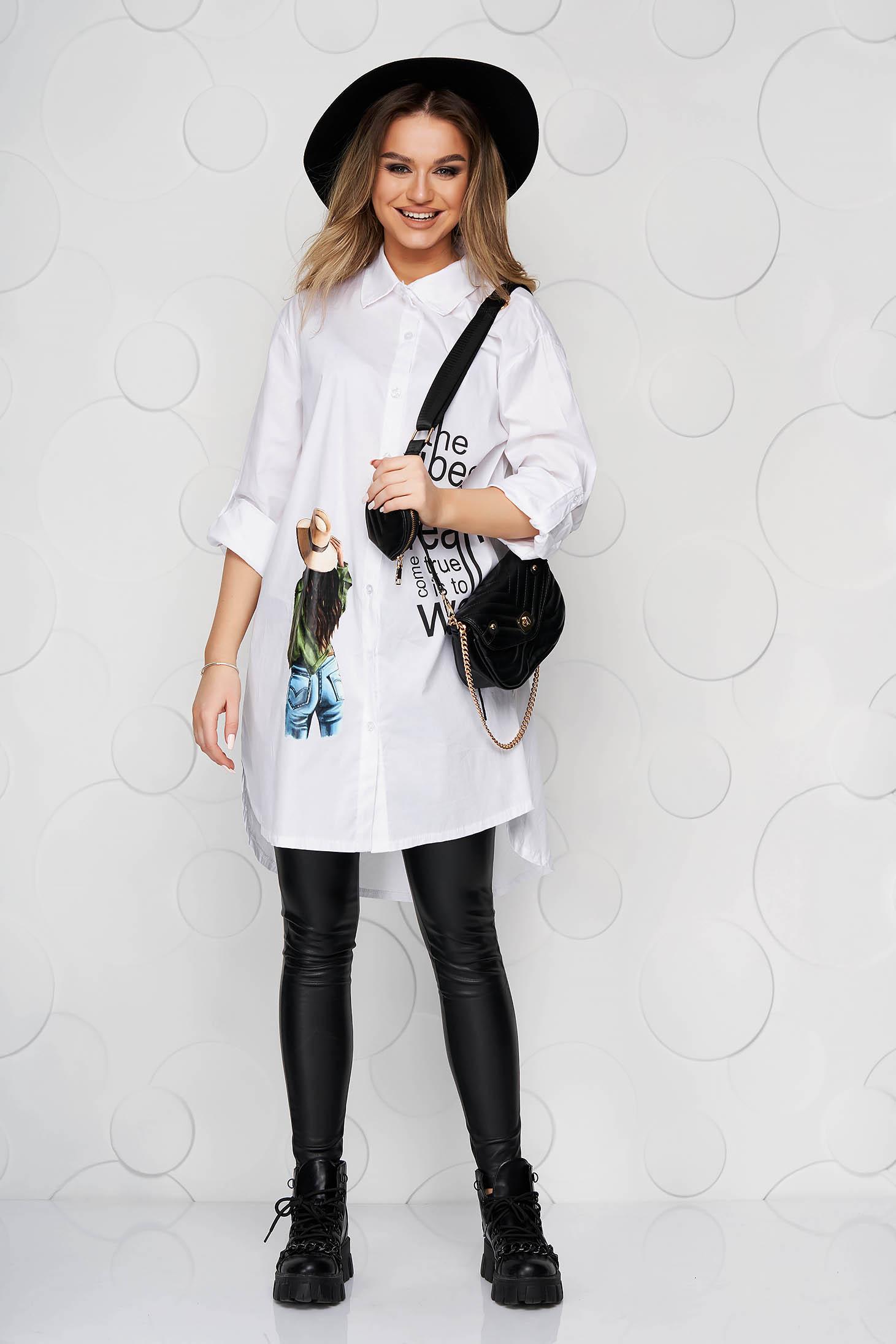 White women`s shirt long asymmetrical thin fabric