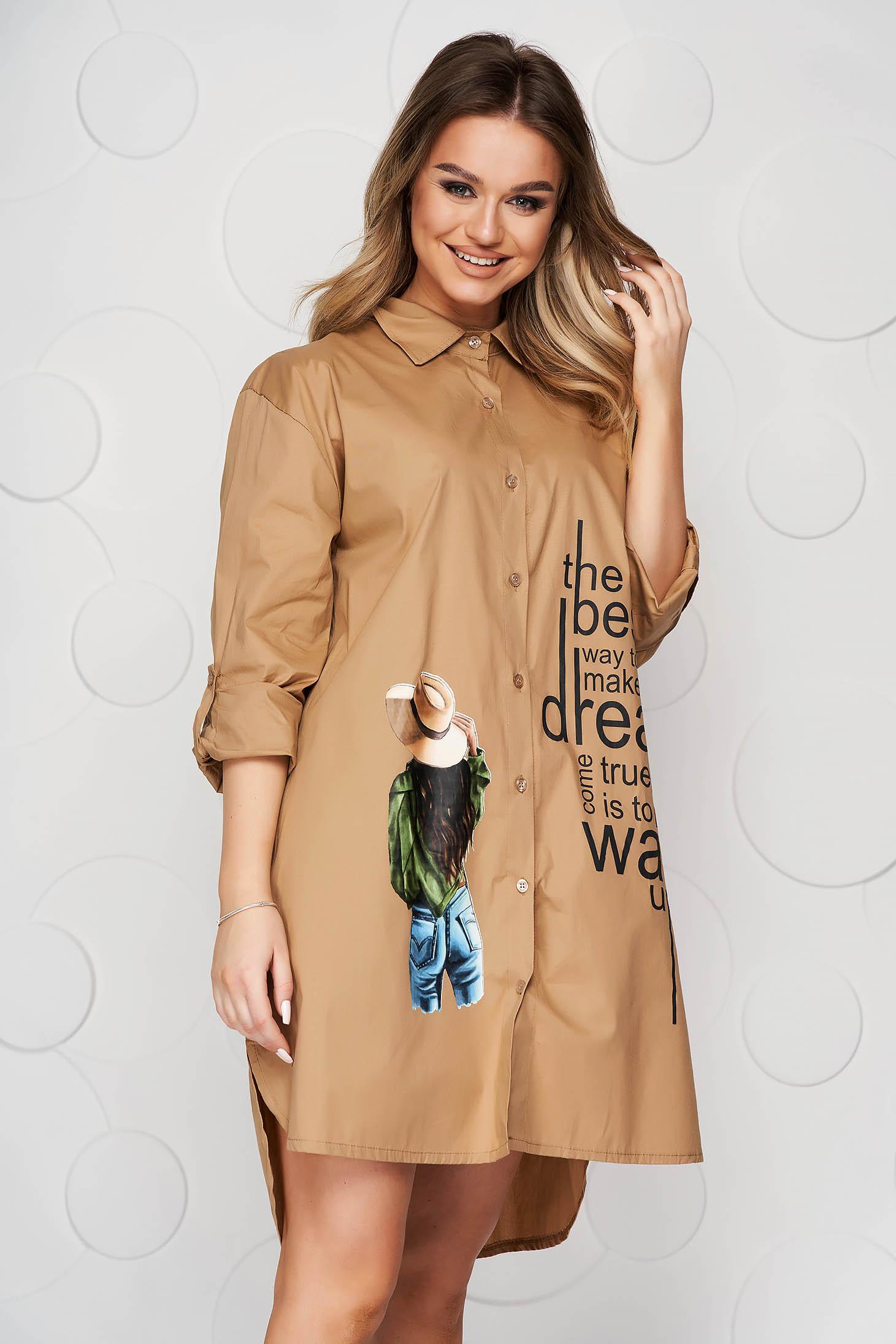 Camasa dama SunShine maro lunga asimetrica din material subtire tip poplin
