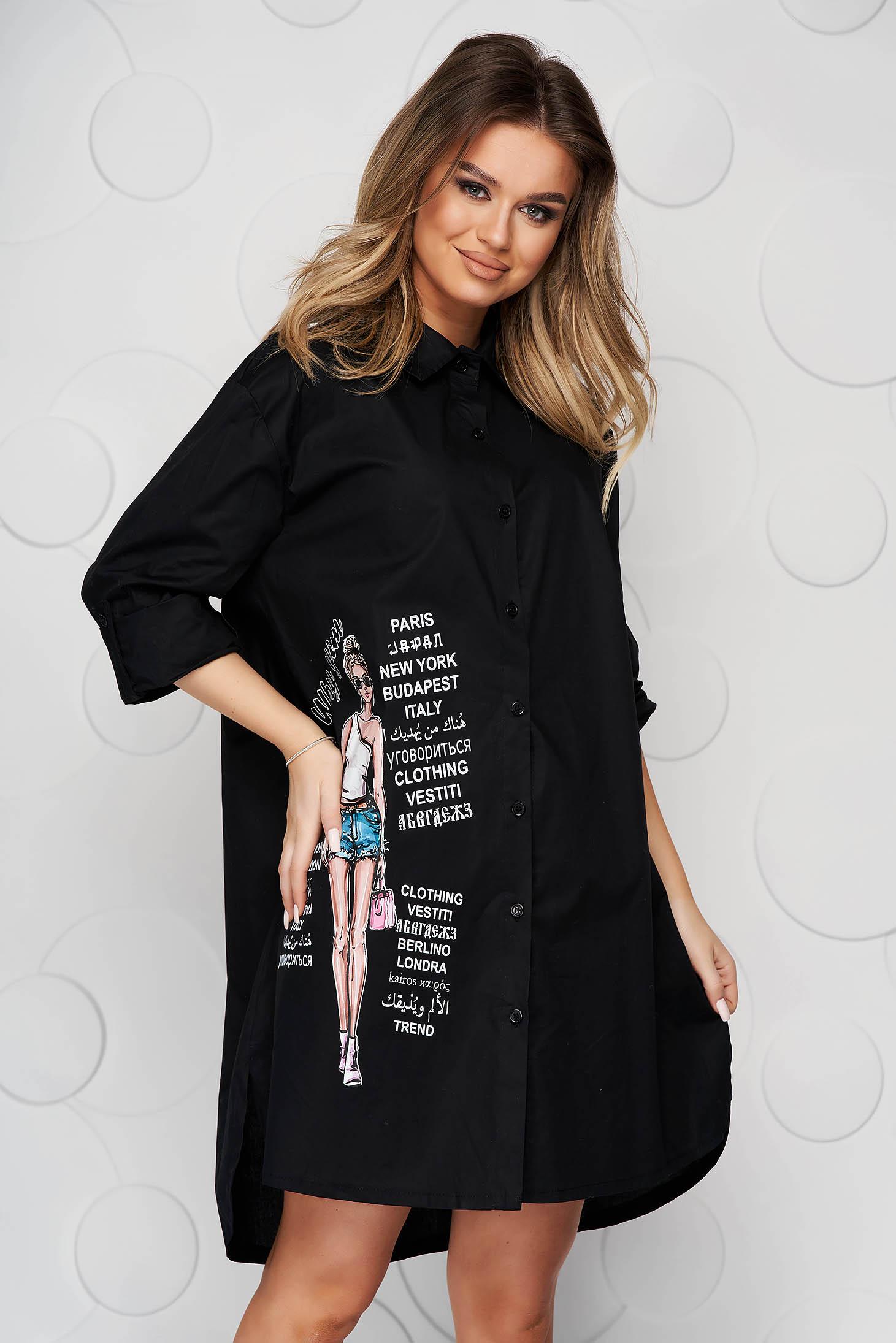Camasa dama SunShine neagra din bumbac usor elastic asimetrica cu croi larg si slituri lateral