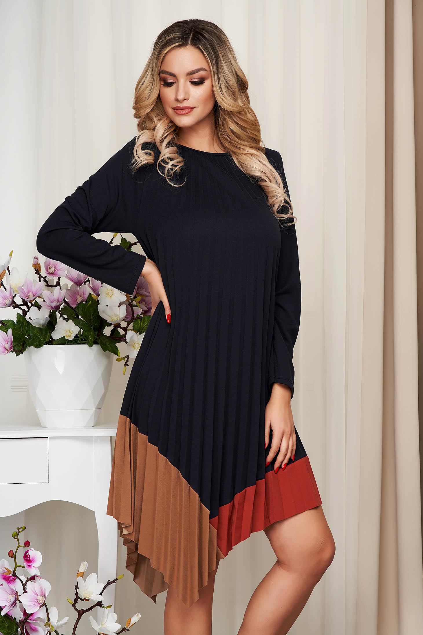 Darkblue dress loose fit asymmetrical folded up