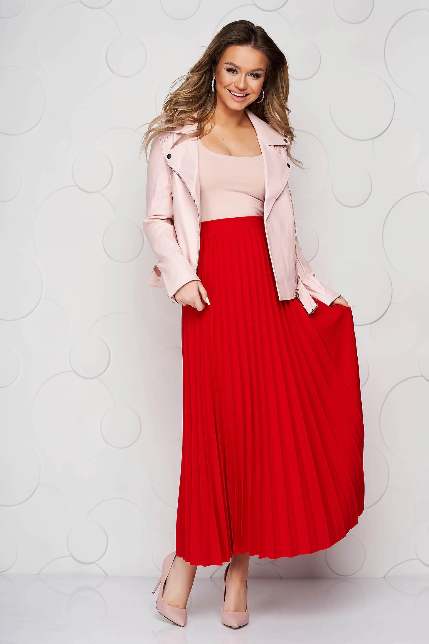 Fusta SunShine rosie plisata in clos din material elastic