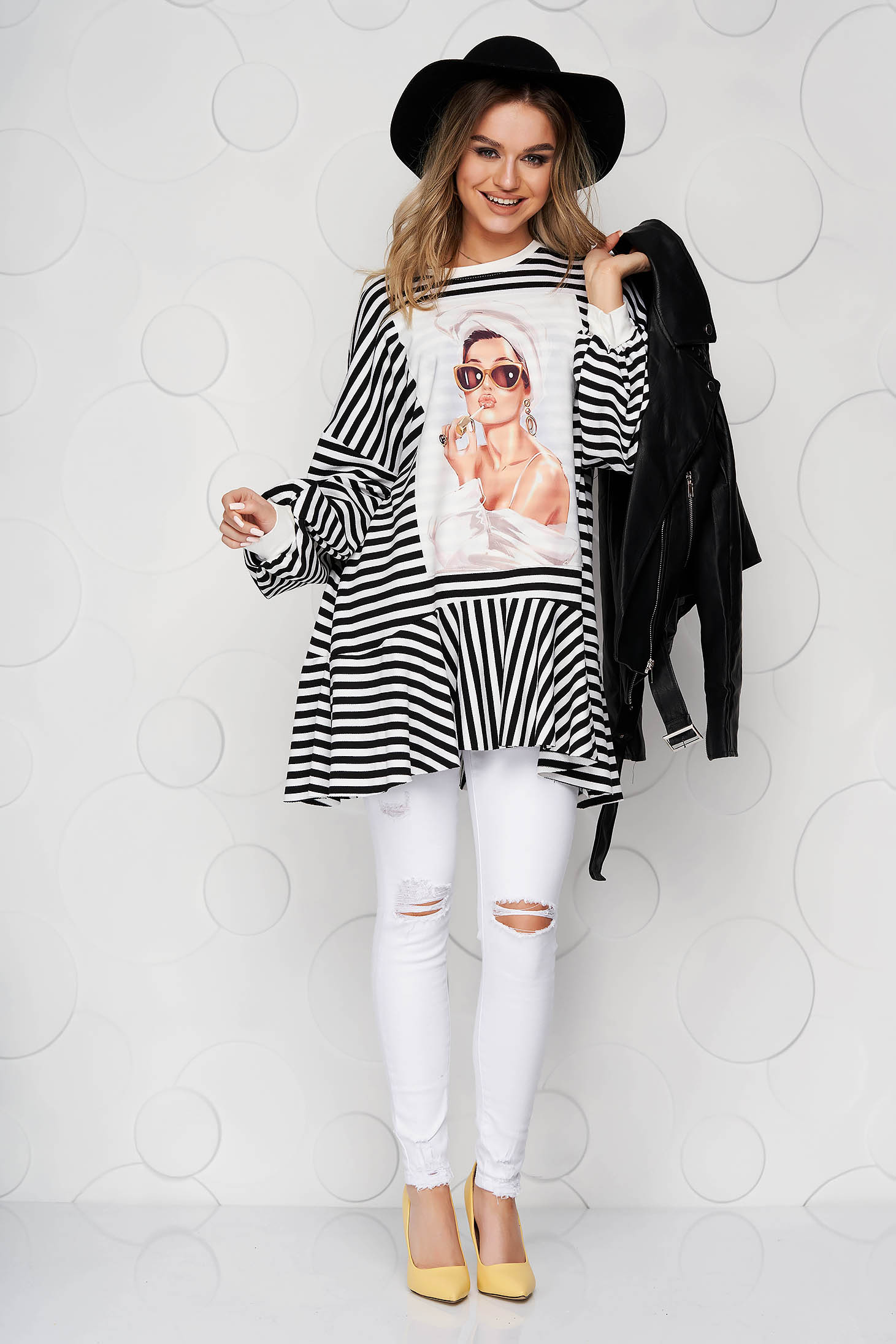 Black women`s blouse with stripes with ruffle details from elastic fabric loose fit