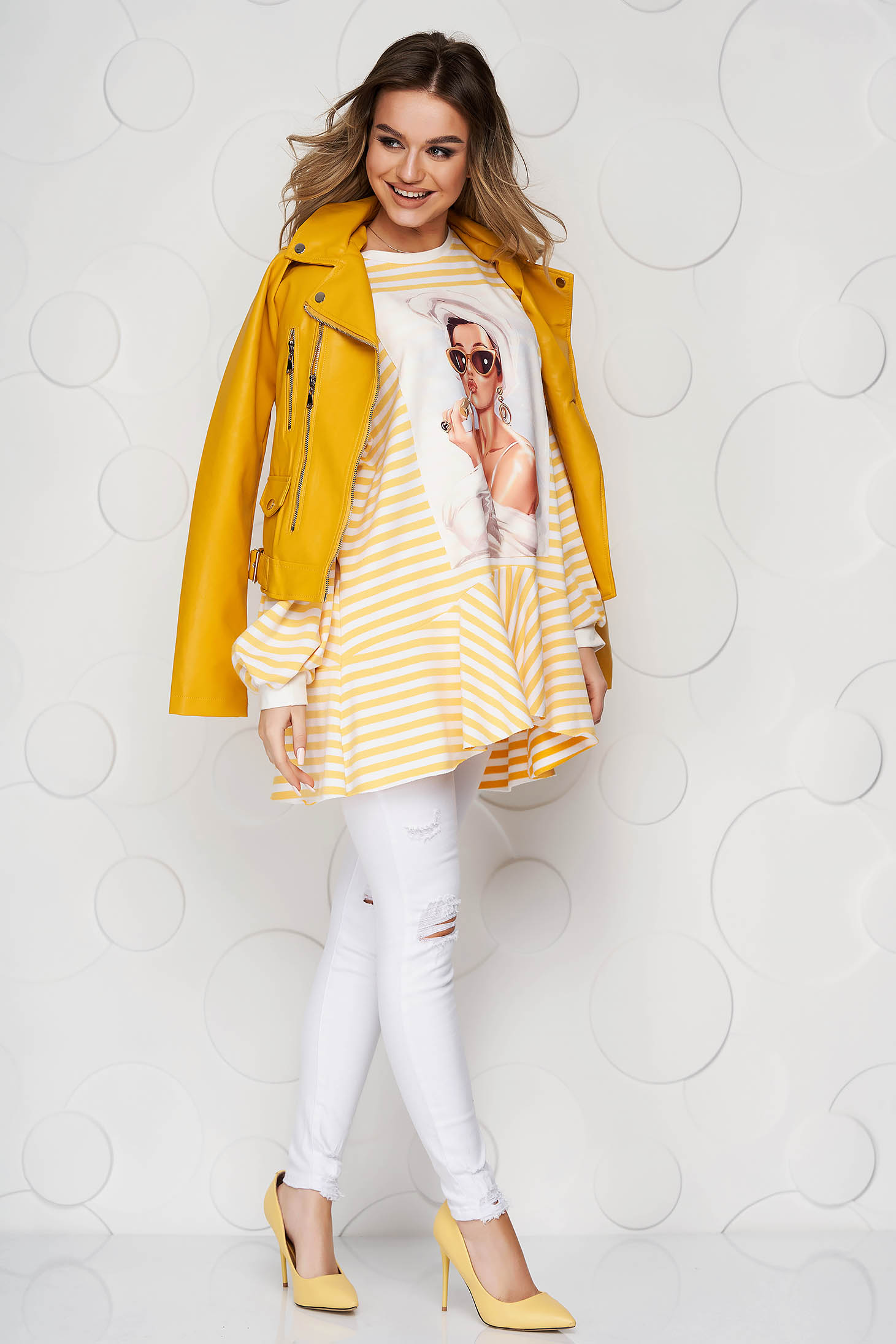 Yellow women`s blouse with stripes with ruffle details from elastic fabric loose fit
