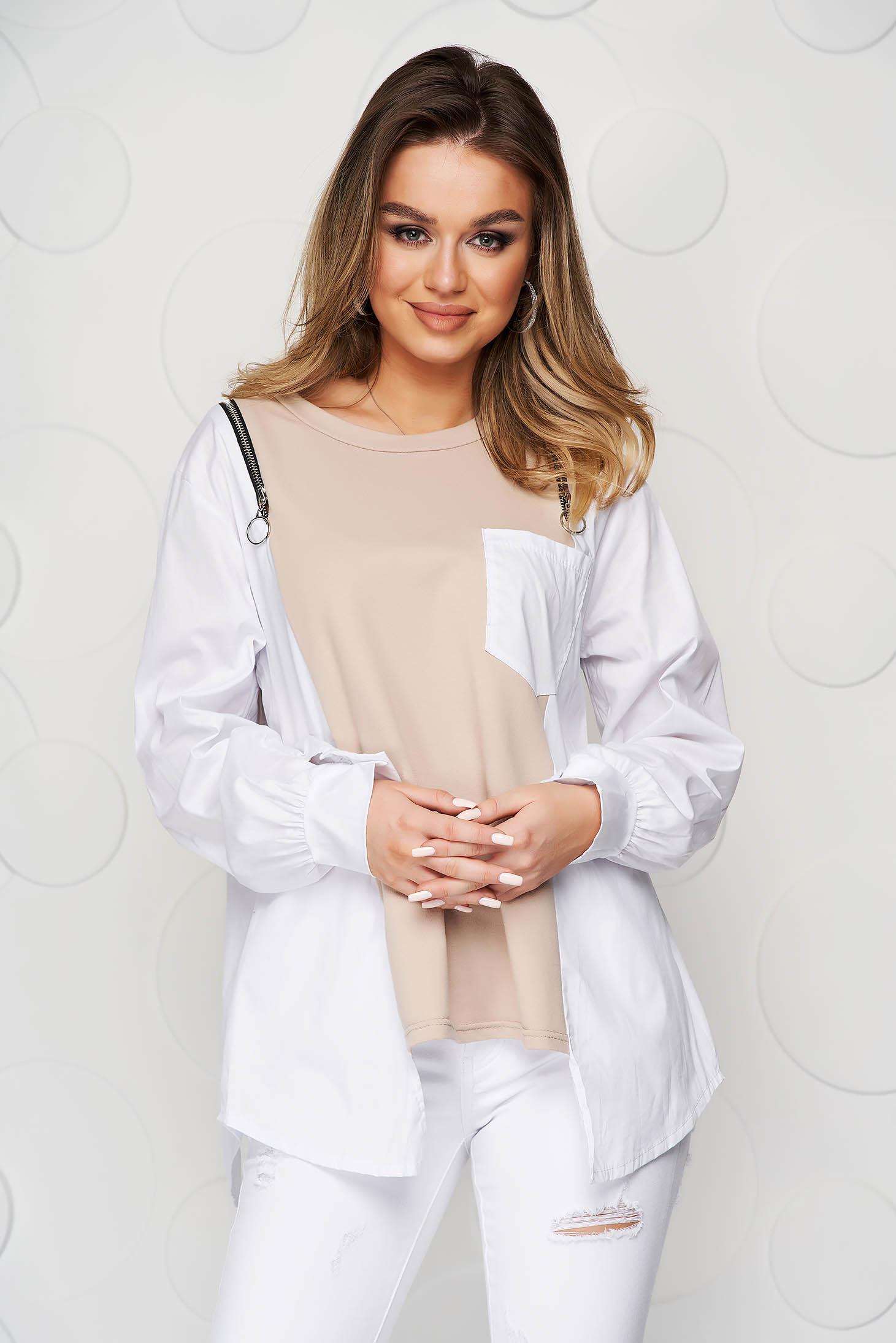 Bluza dama SunShine crem din bumbac asimetrica cu croi larg accesorizata cu fermoare