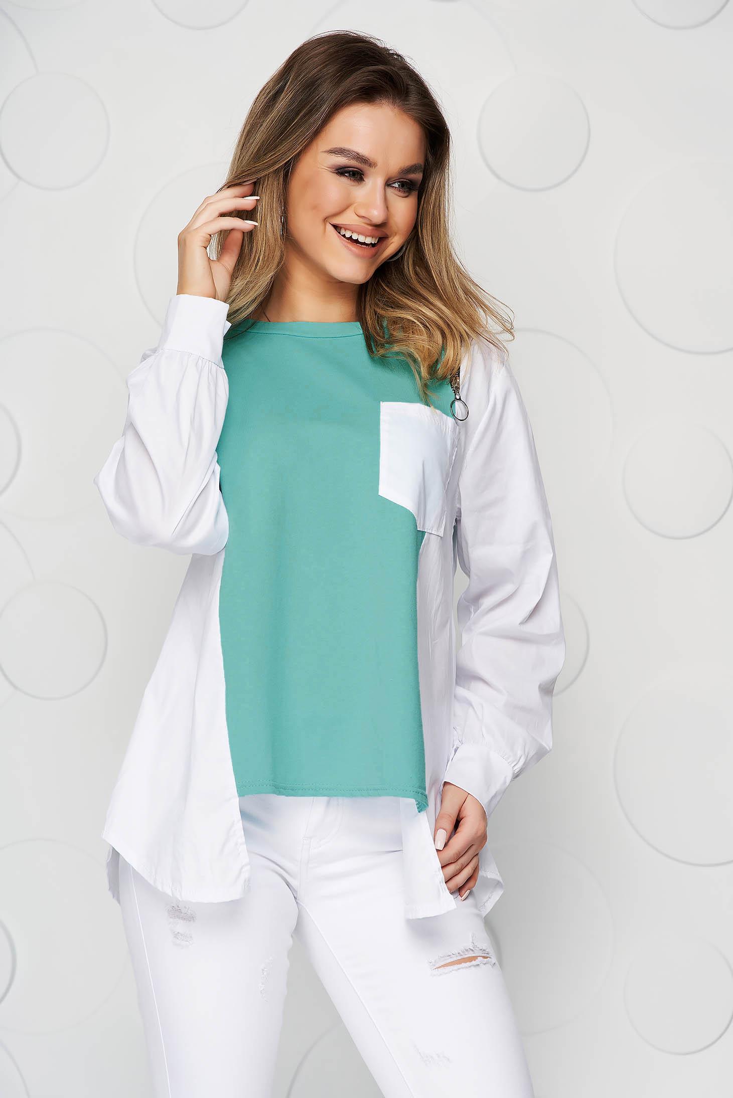 Green women`s blouse cotton asymmetrical loose fit zipper accessory