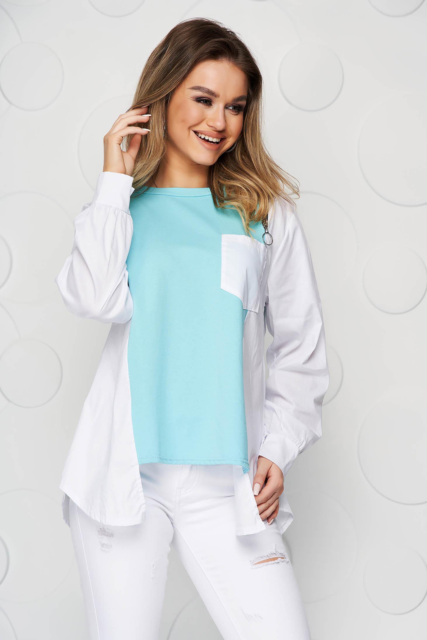 Turquoise women`s blouse cotton asymmetrical loose fit zipper accessory
