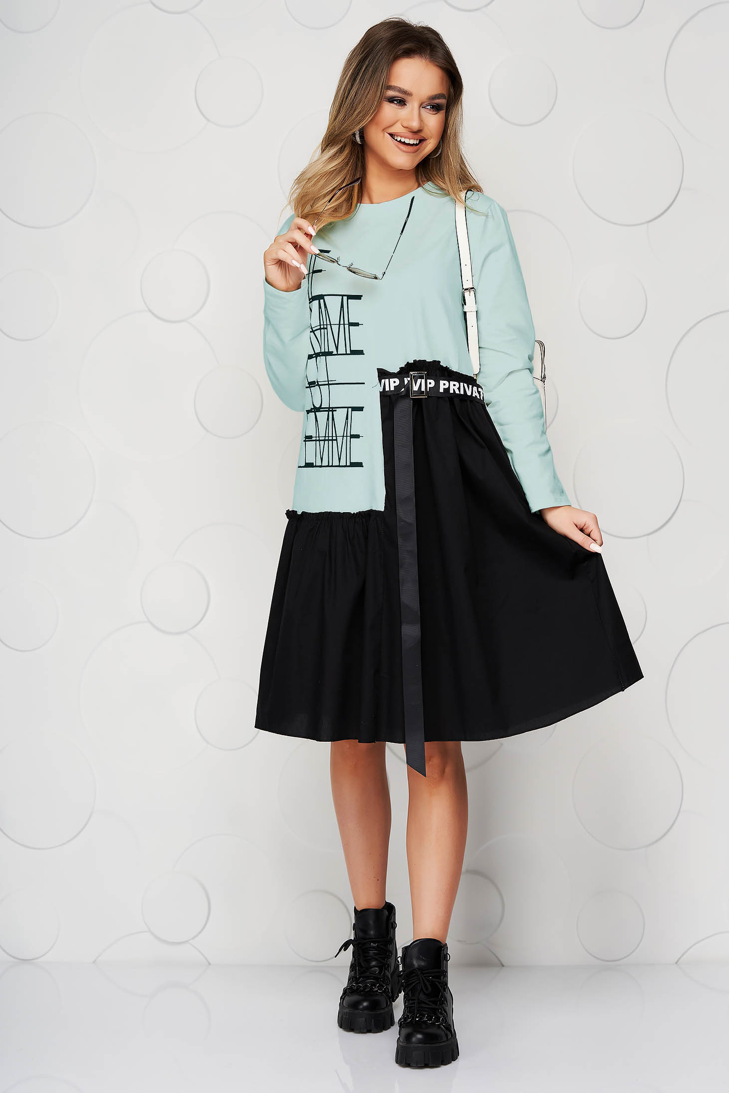 Turquoise dress elastic cotton with ruffle details loose fit with graphic details