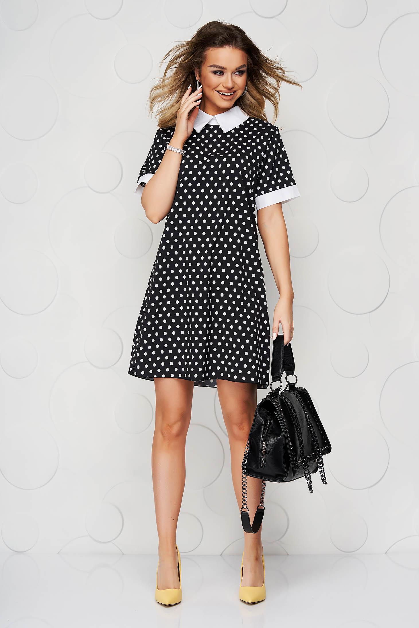 Black dress dots print airy fabric straight