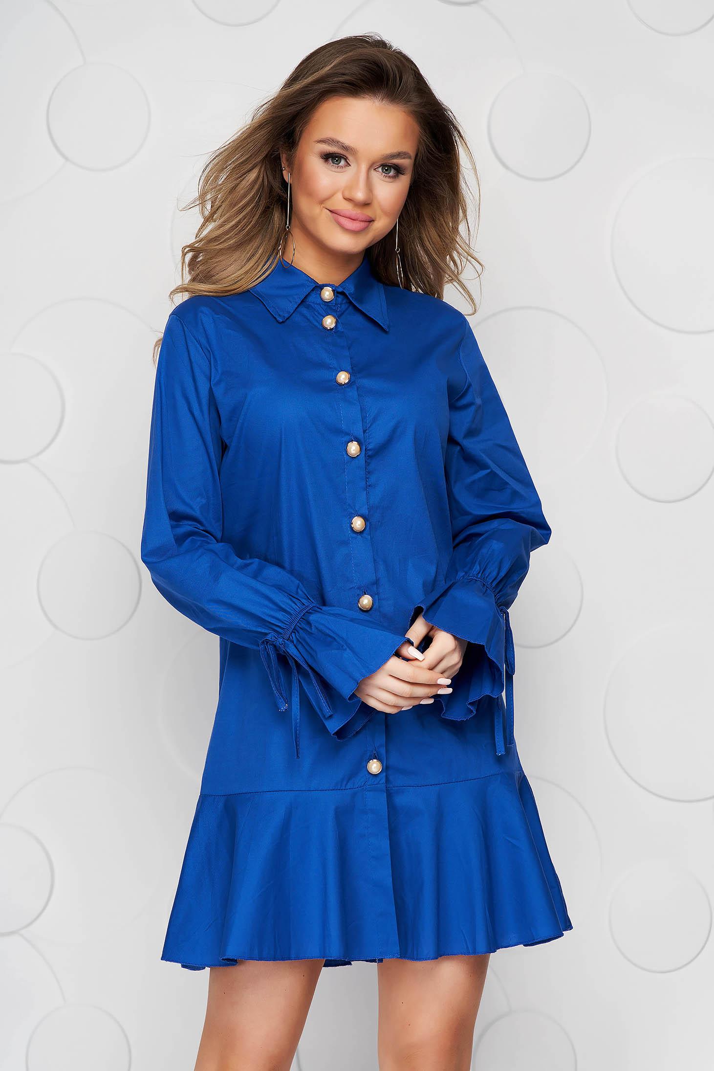 Rochie SunShine tip camasa albastra din material subtire accesorizata cu fundite cu croi larg midi