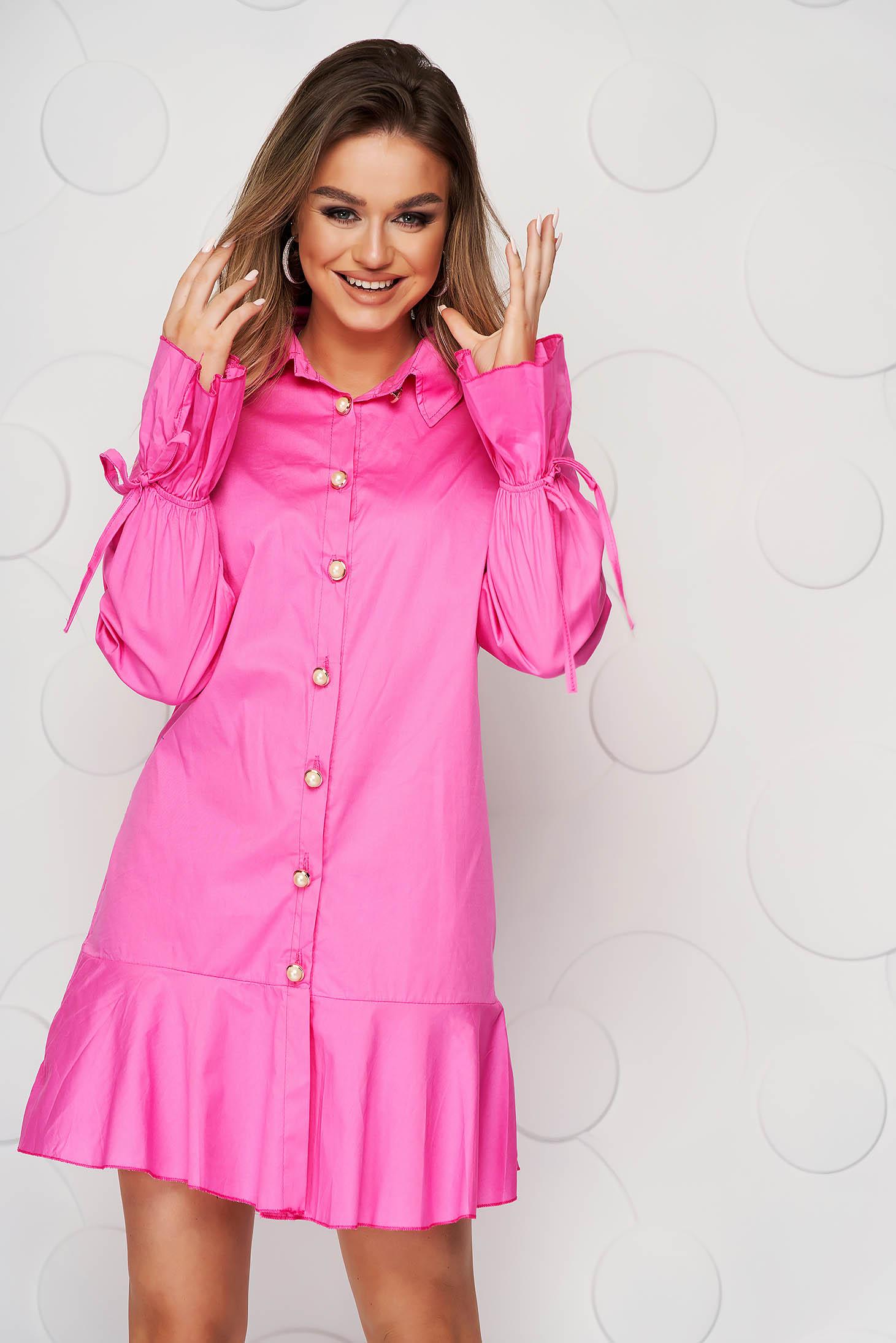Rochie SunShine tip camasa roz din material subtire accesorizata cu fundite cu croi larg midi