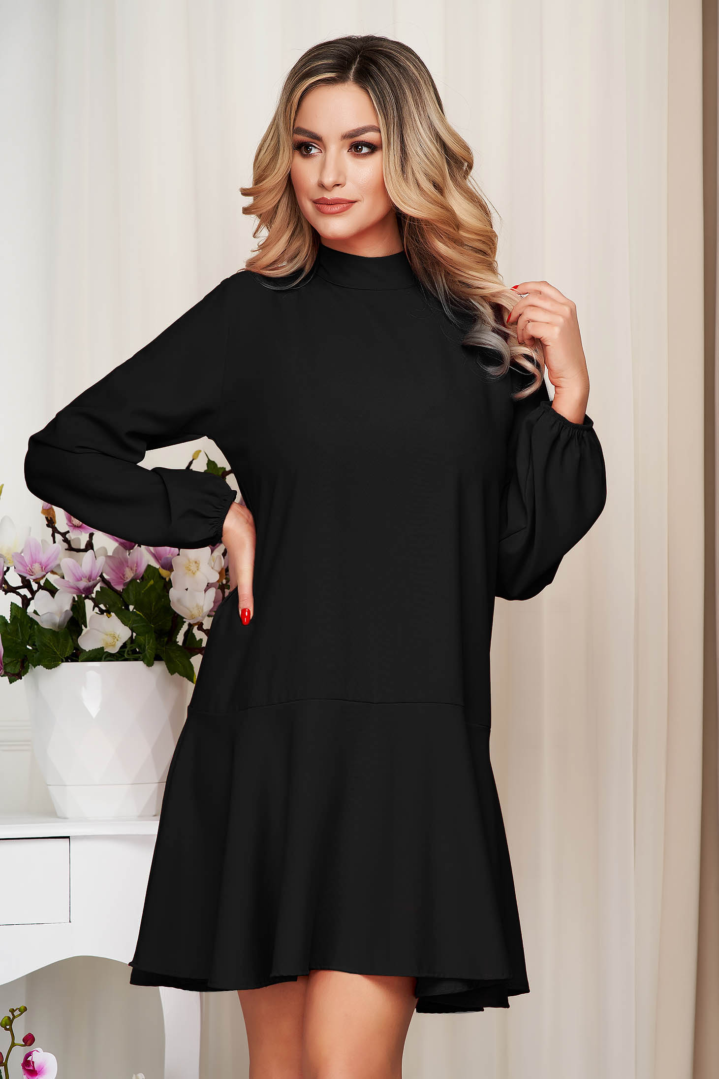 Black dress loose fit with ruffle details with turtle neck