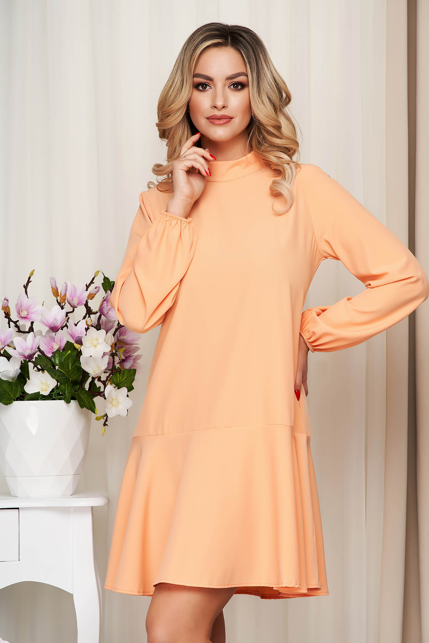 Orange dress loose fit with ruffle details with turtle neck