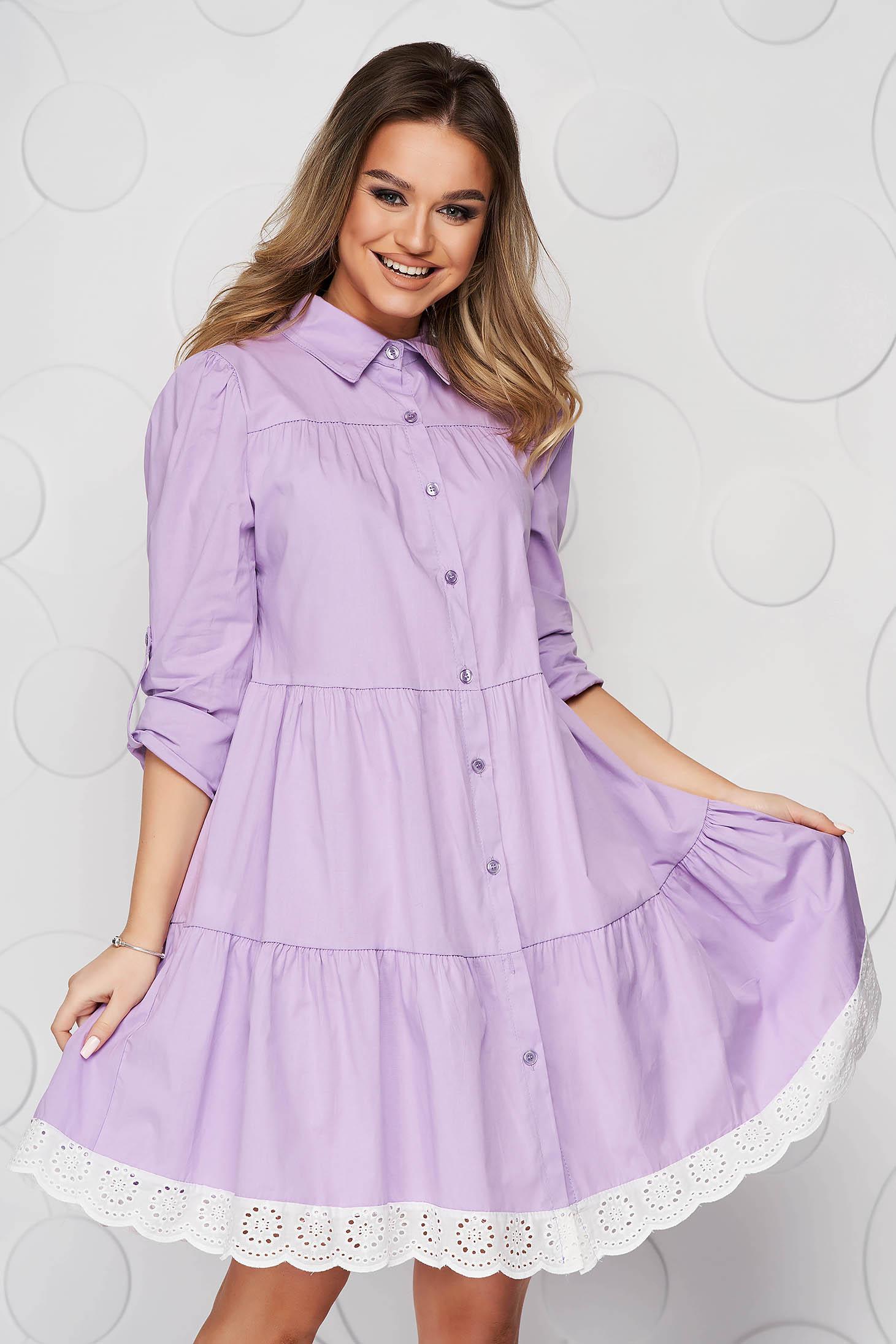 Lila dress cotton a-line with lace details midi