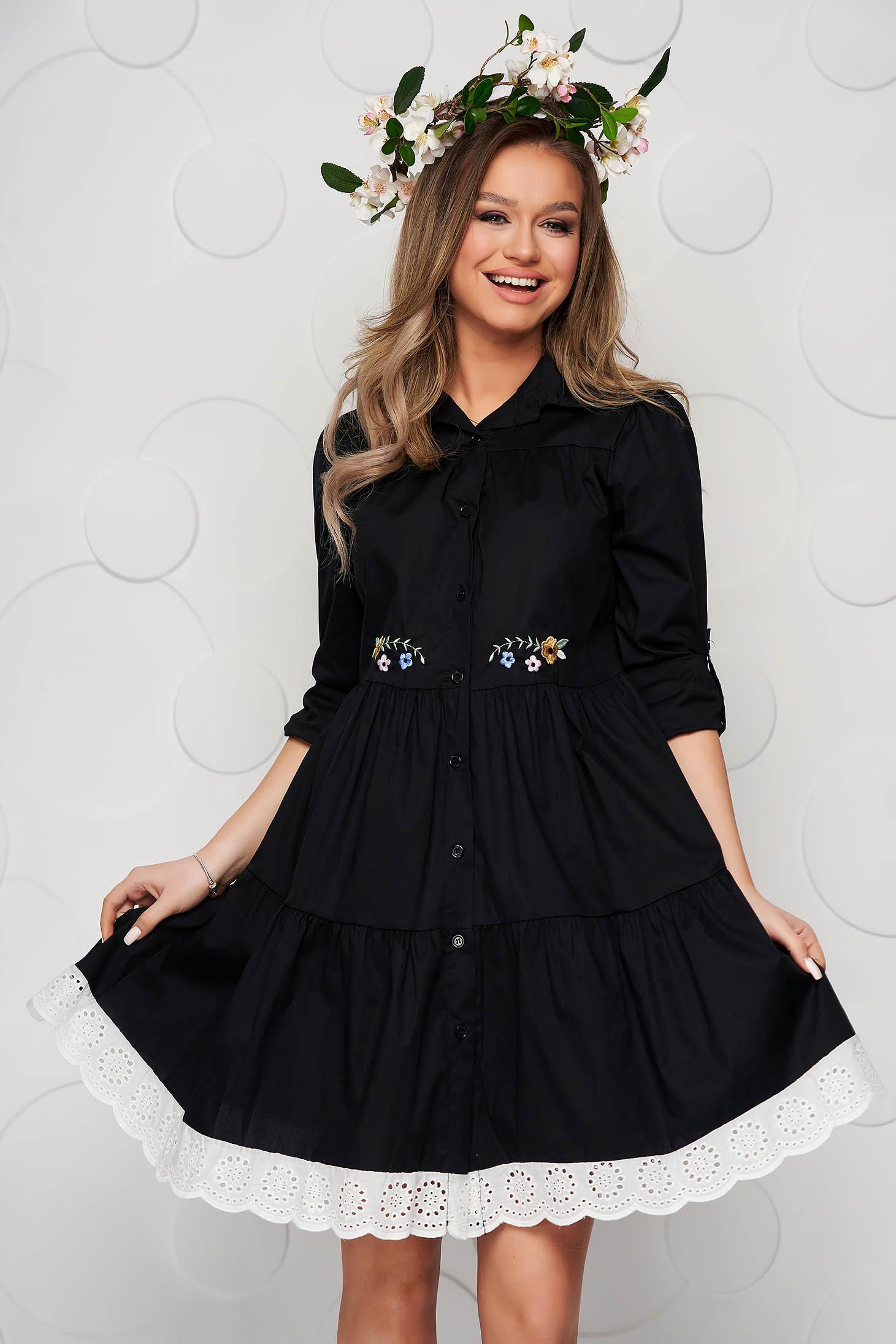 Black dress cotton a-line with lace details midi