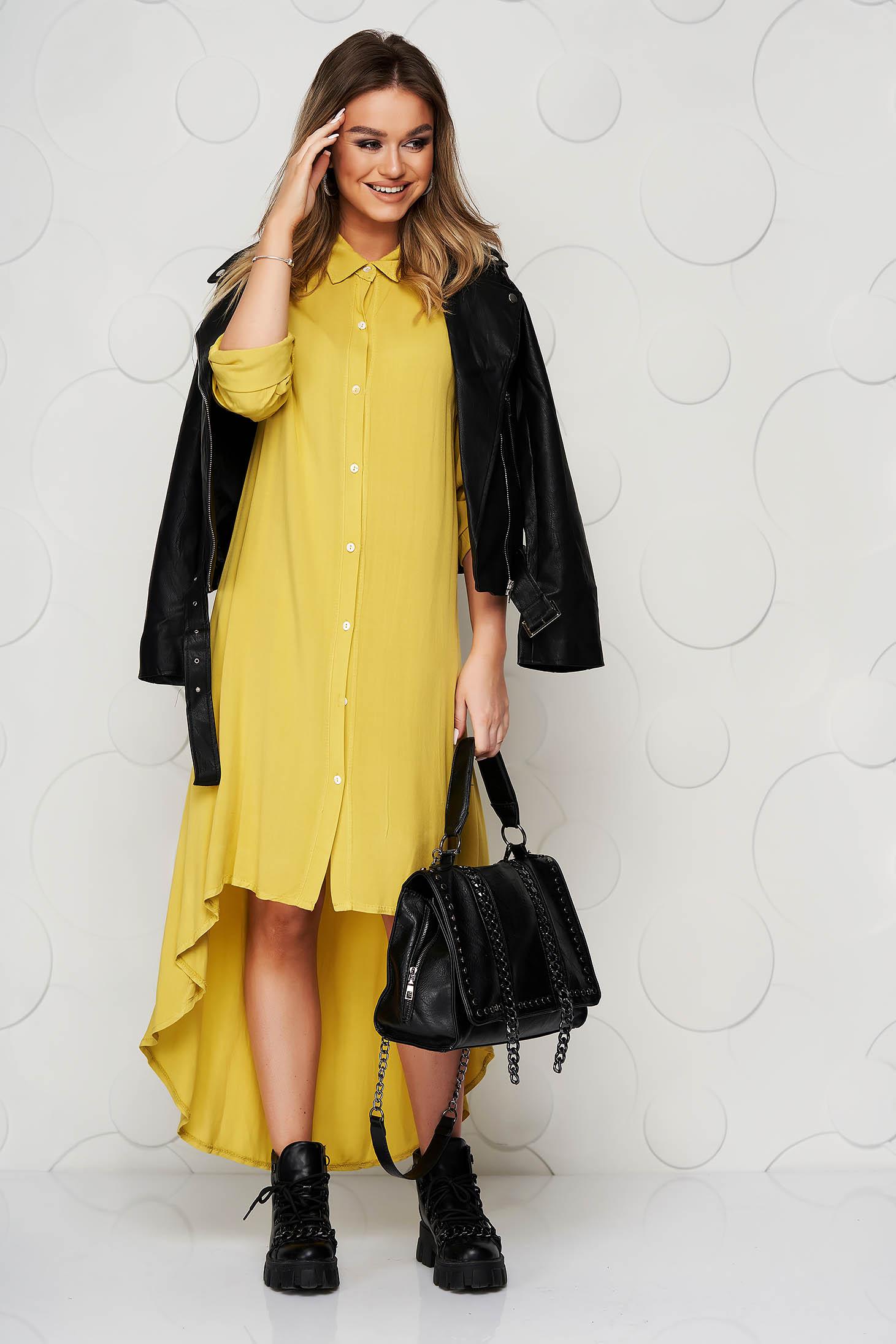 Mustársárga ruha finom tapintásu anyagból bő szabású vékony anyag