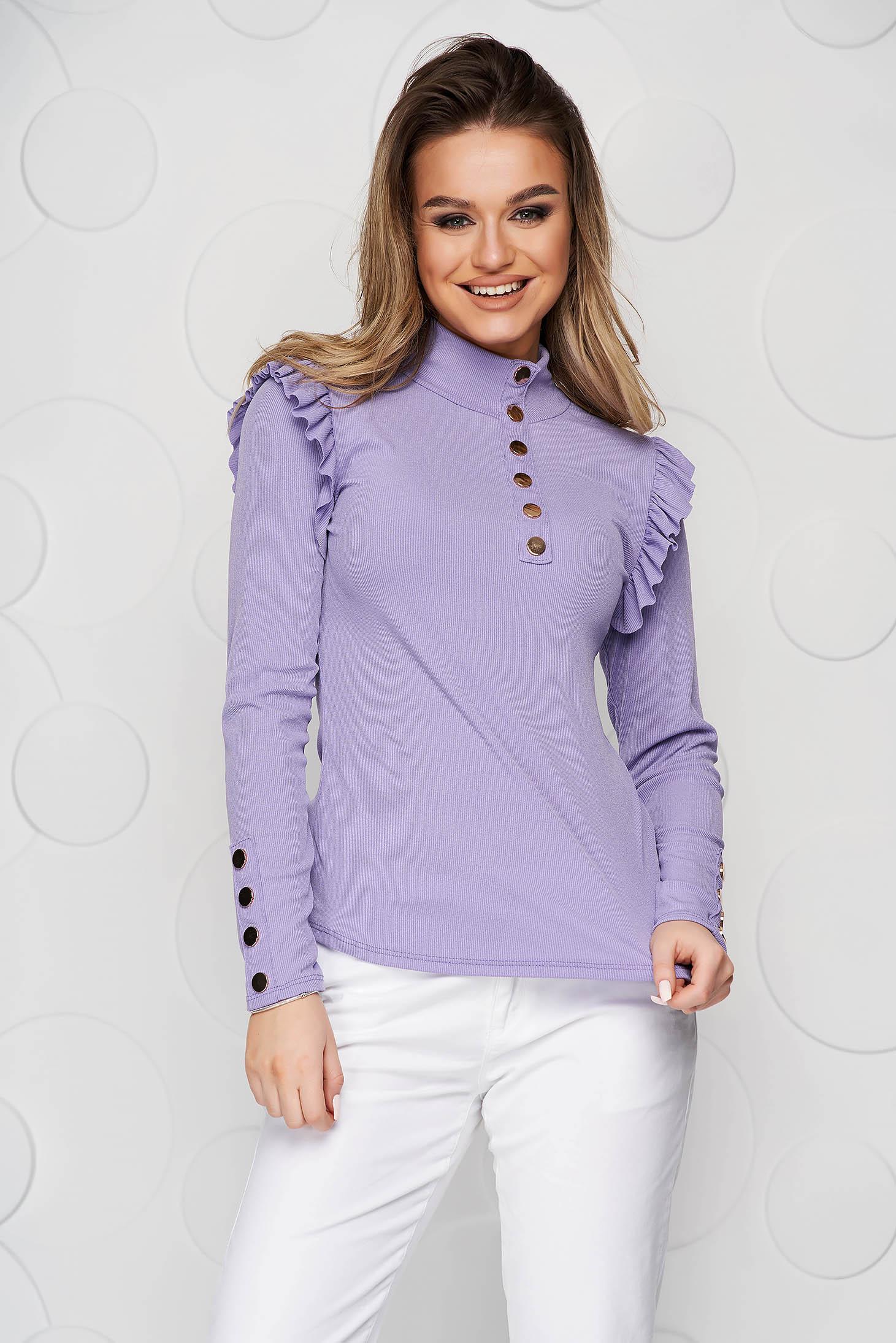 Bluza dama SunShine lila mulata din material elastic fin si reiat cu volanase