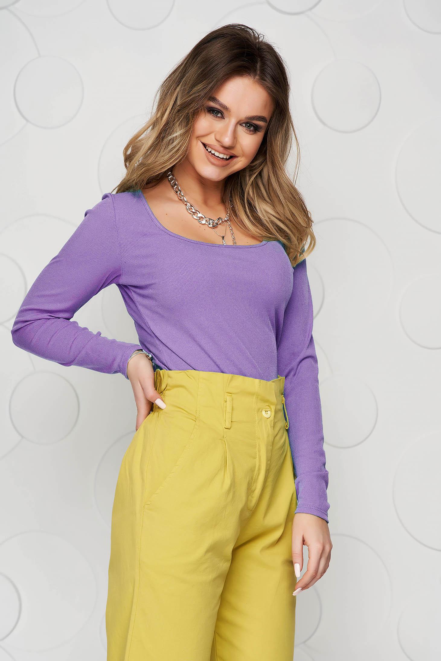 Bluza dama SunShine lila basic din material reiat elastic si fin mulata
