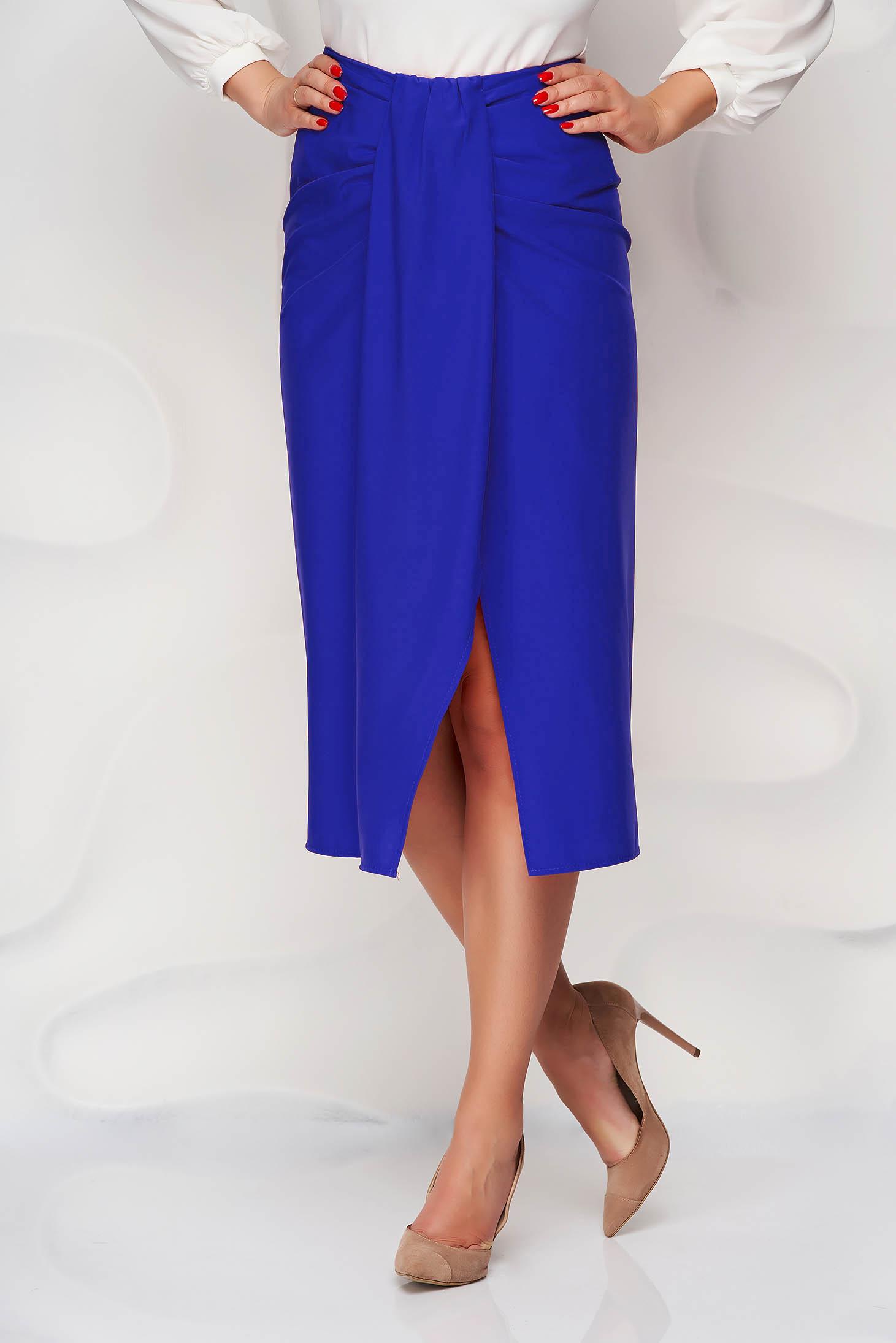 Blue skirt pencil slit nonelastic fabric