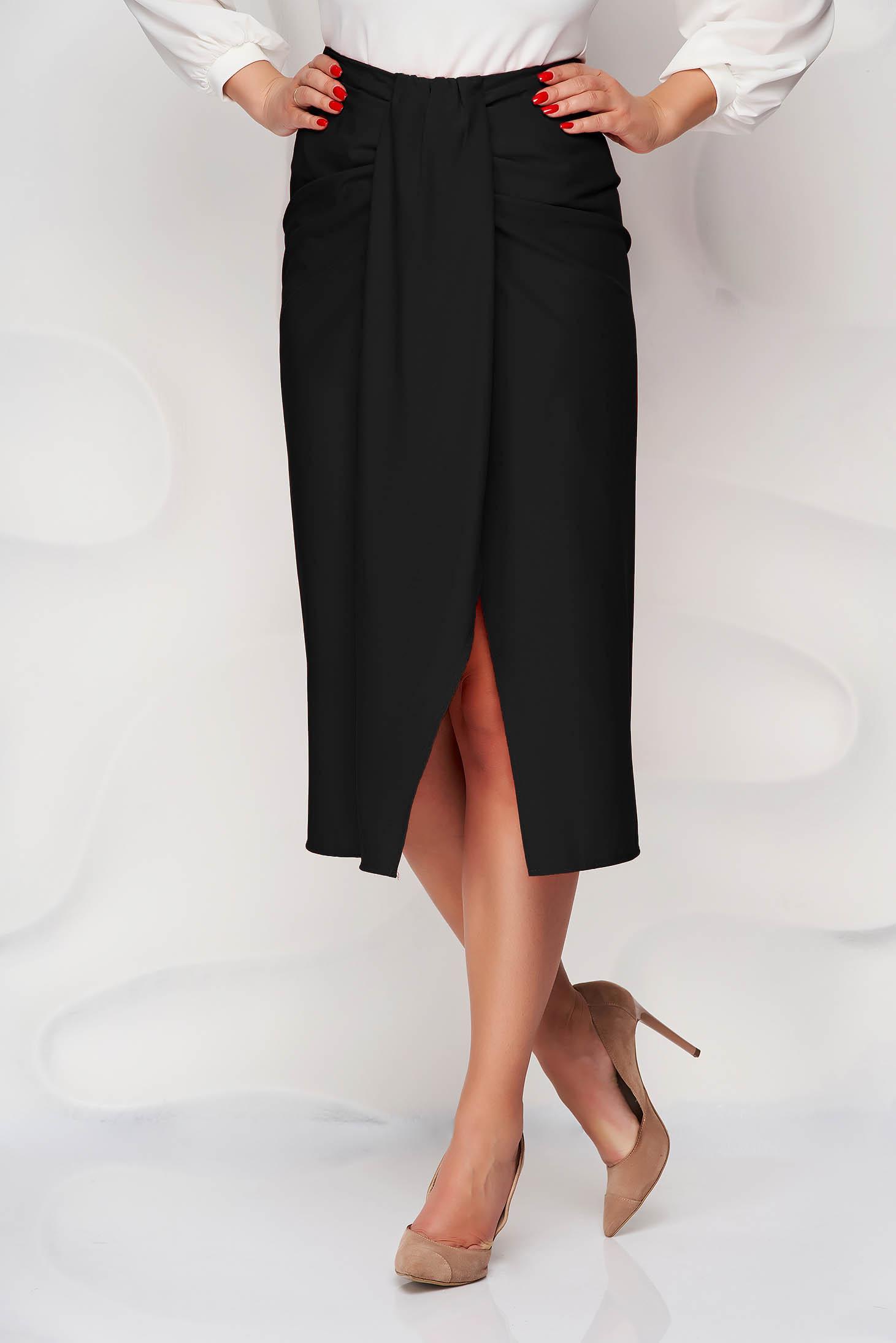 Black skirt pencil slit nonelastic fabric