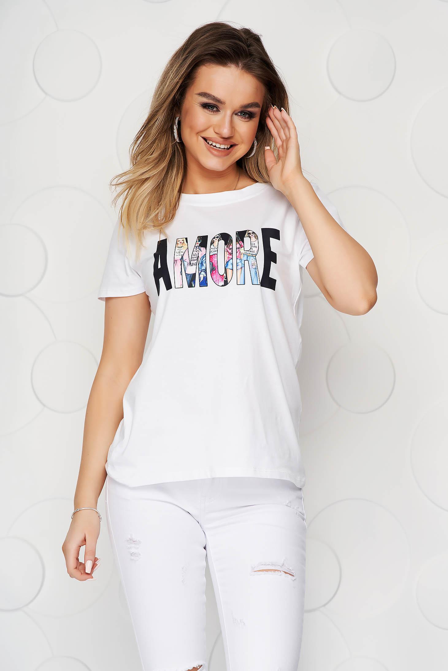 Tricou SunShine alb din bumbac elastic cu croi larg cu imprimeuri grafice