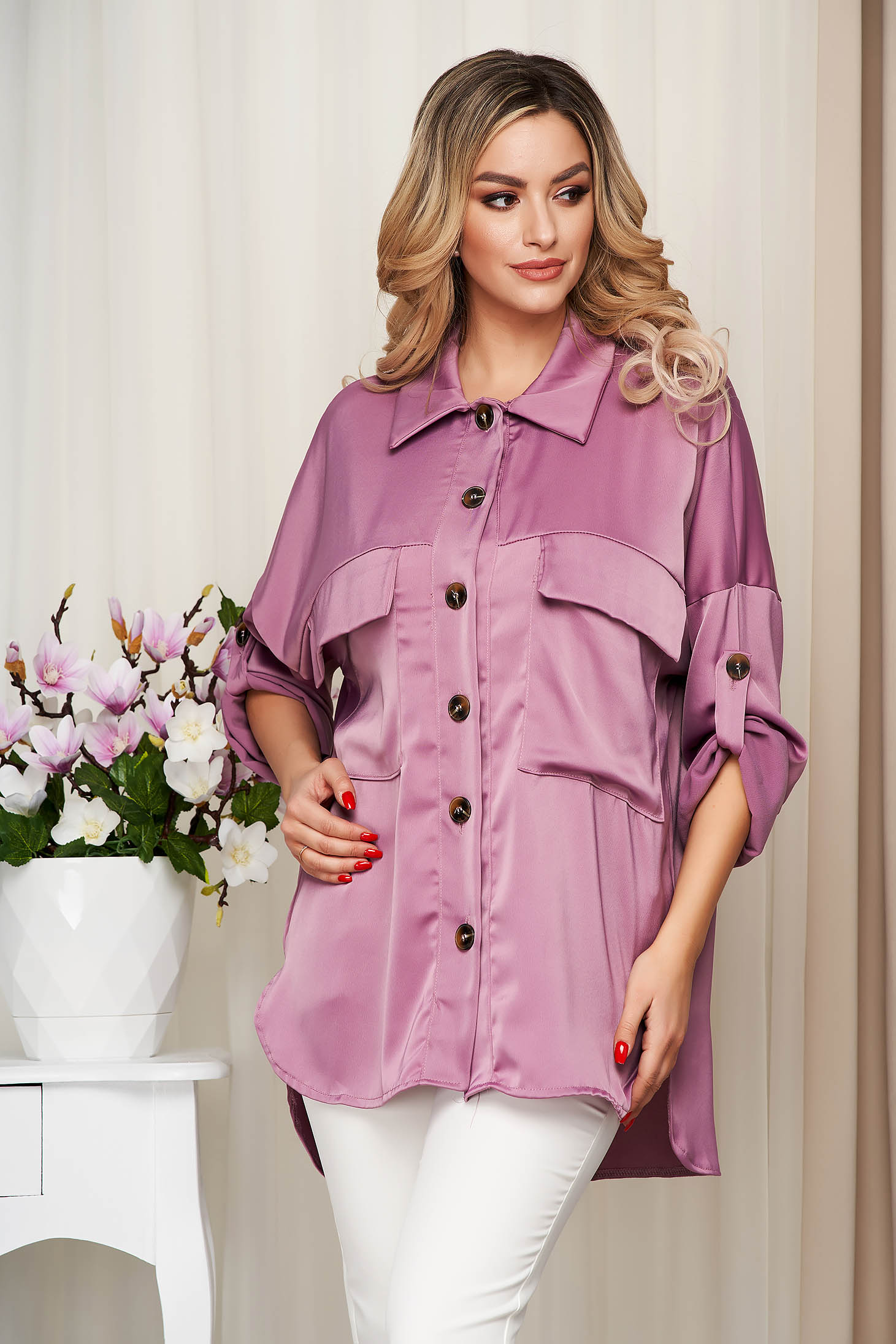 Purple women`s shirt from satin nonelastic fabric loose fit