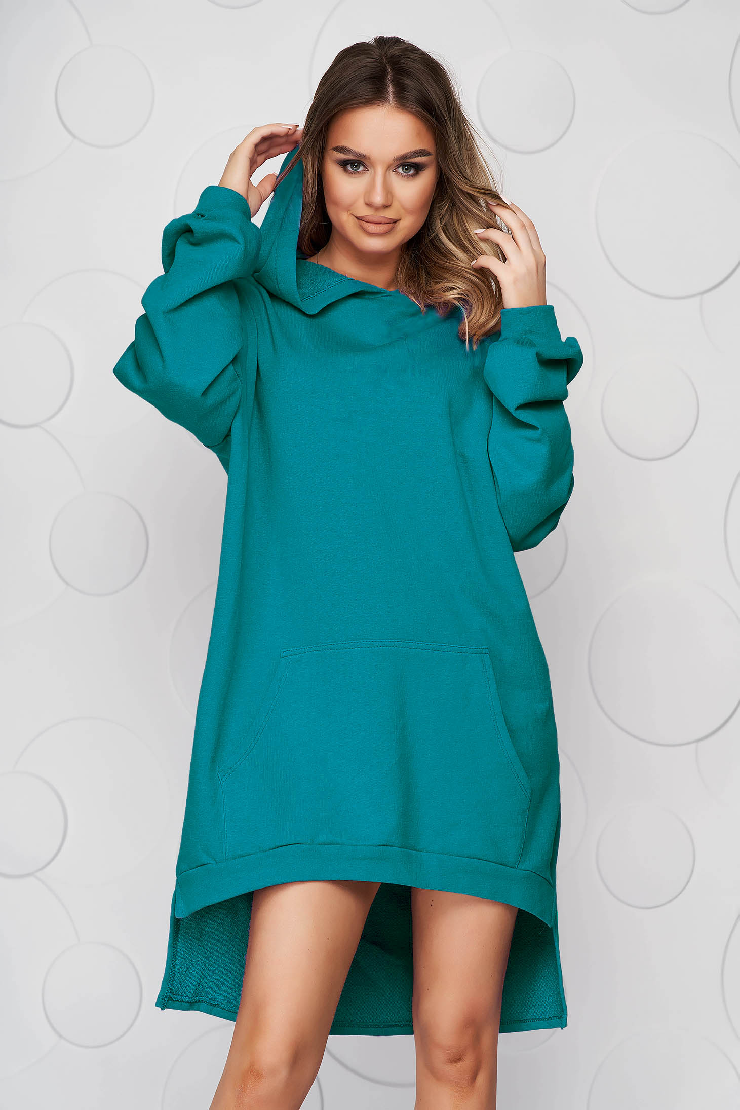 Green dress slightly elastic cotton asymmetrical loose fit