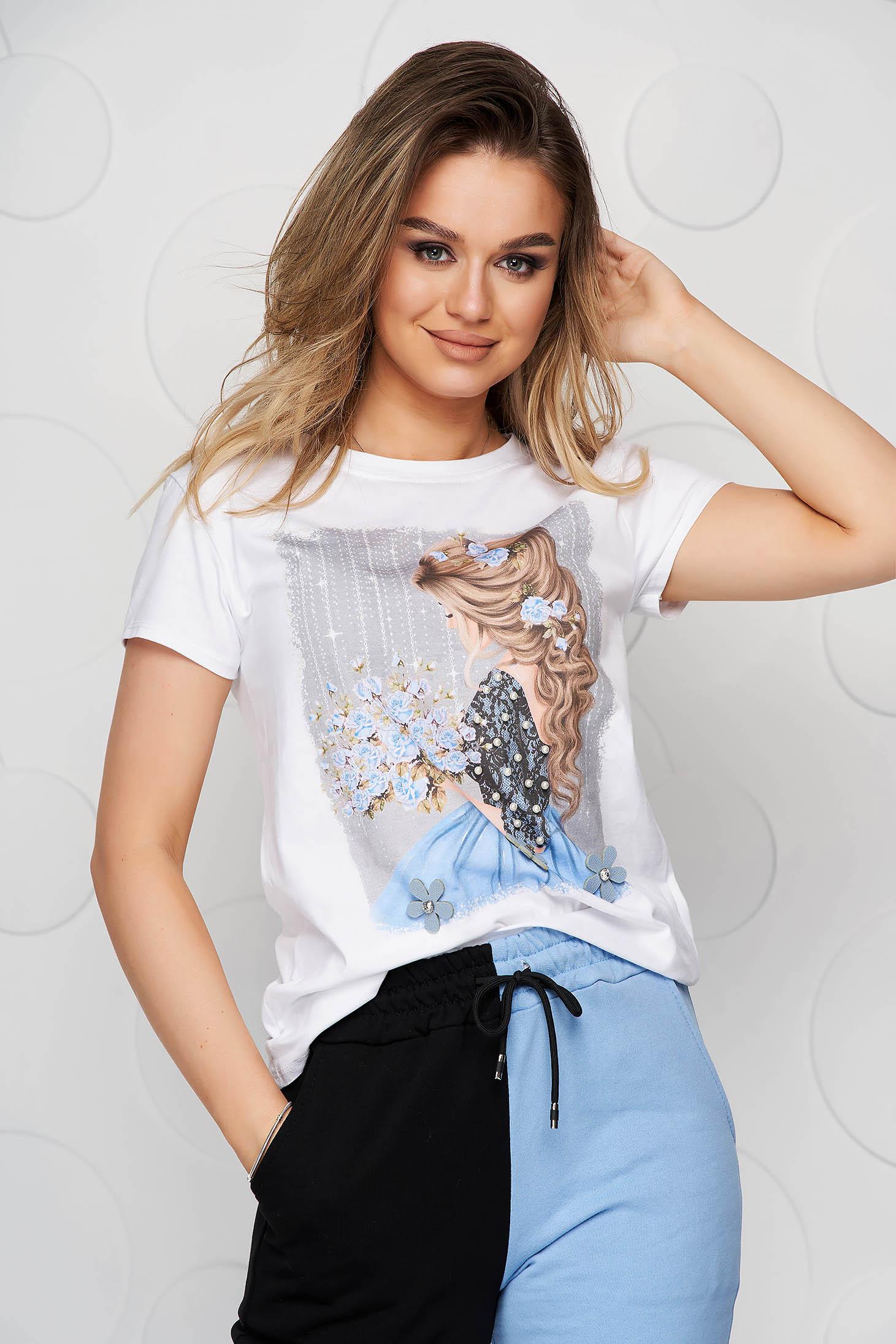 Blue t-shirt elastic cotton loose fit short cut with graphic details