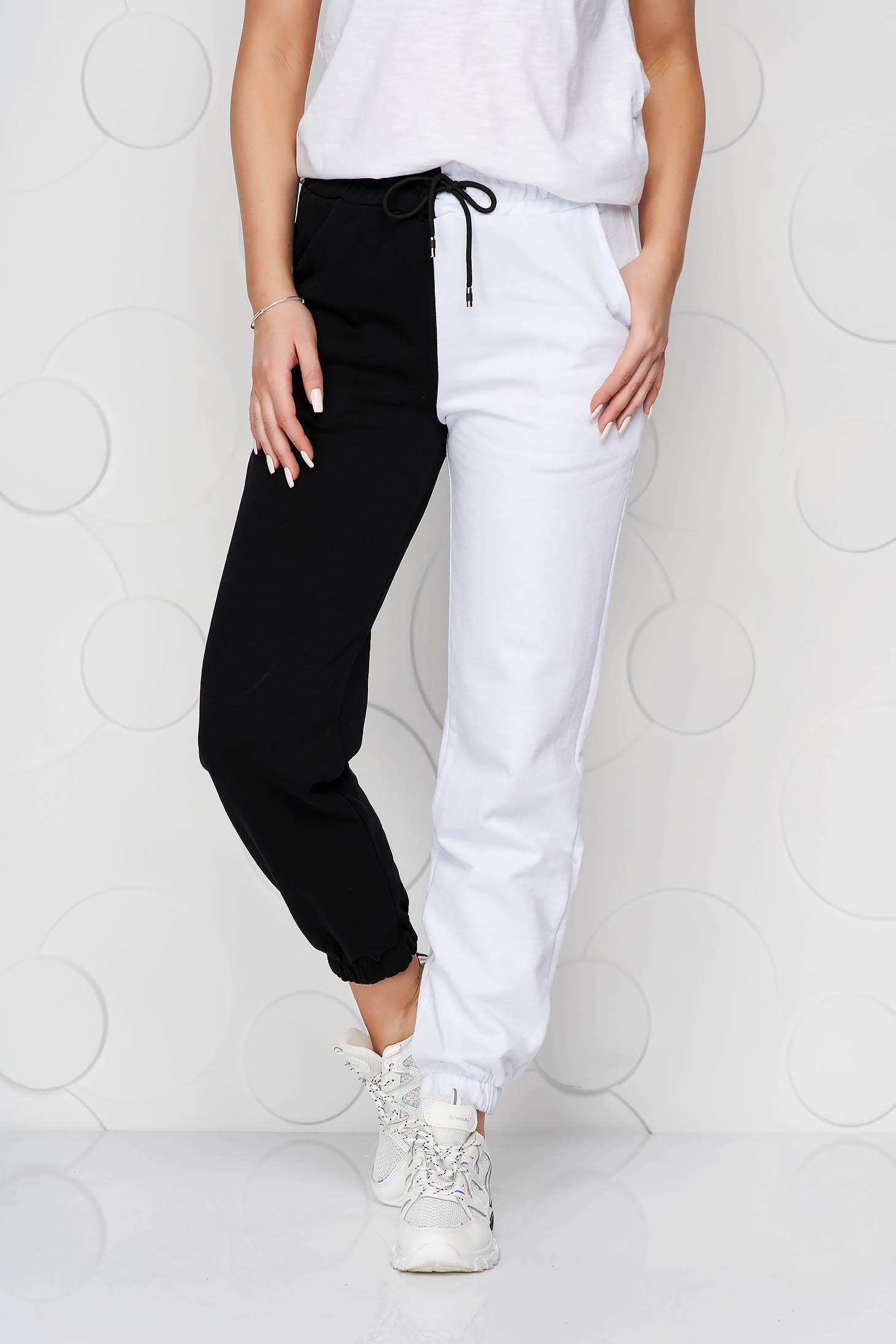 Pantaloni SunShine albi din bumbac cu talie inalta cu elastic in talie