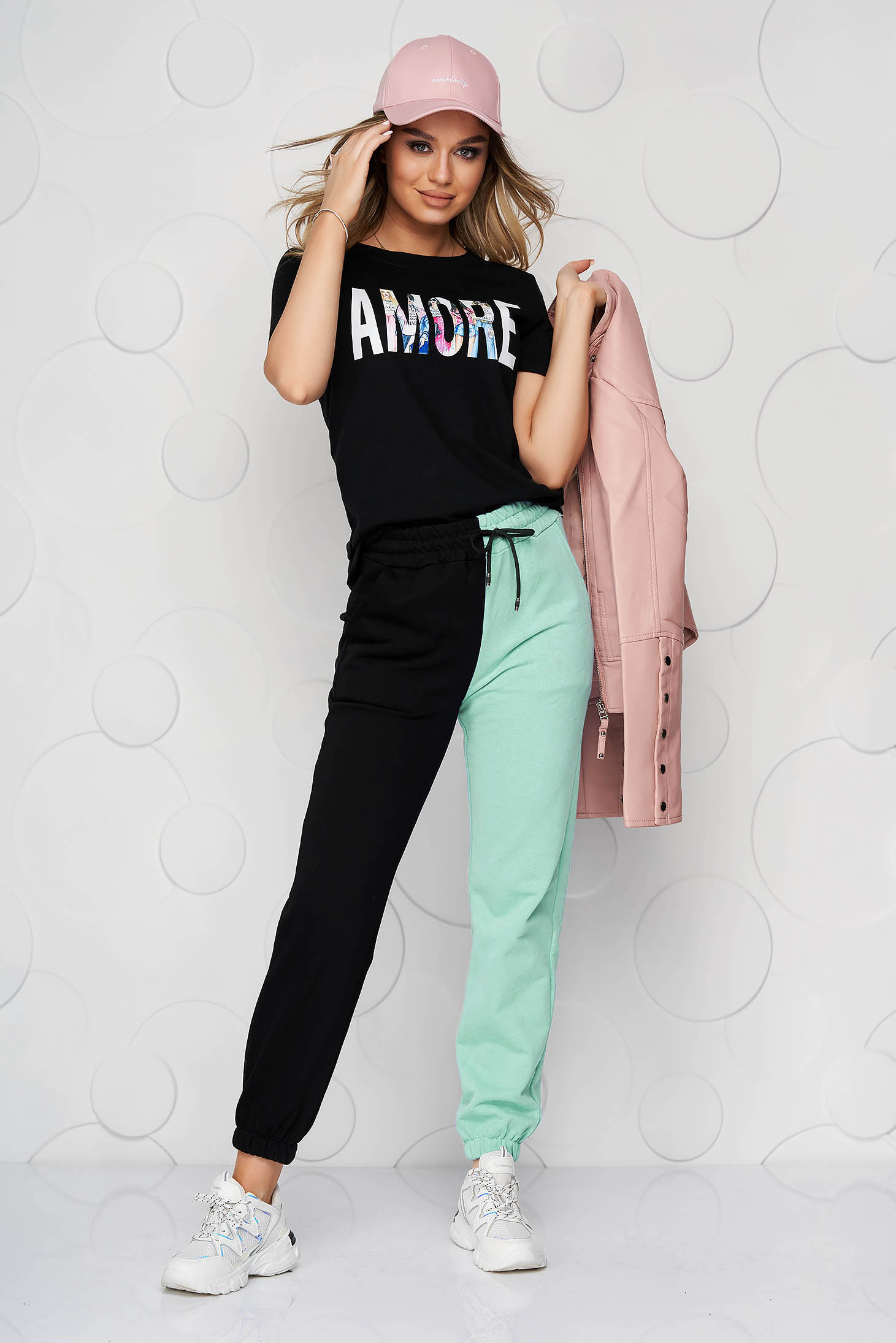 Green trousers cotton high waisted with elastic waist