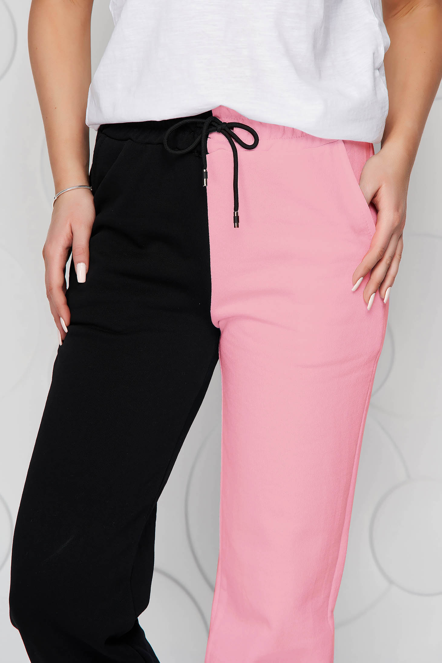 Pink trousers cotton high waisted with elastic waist